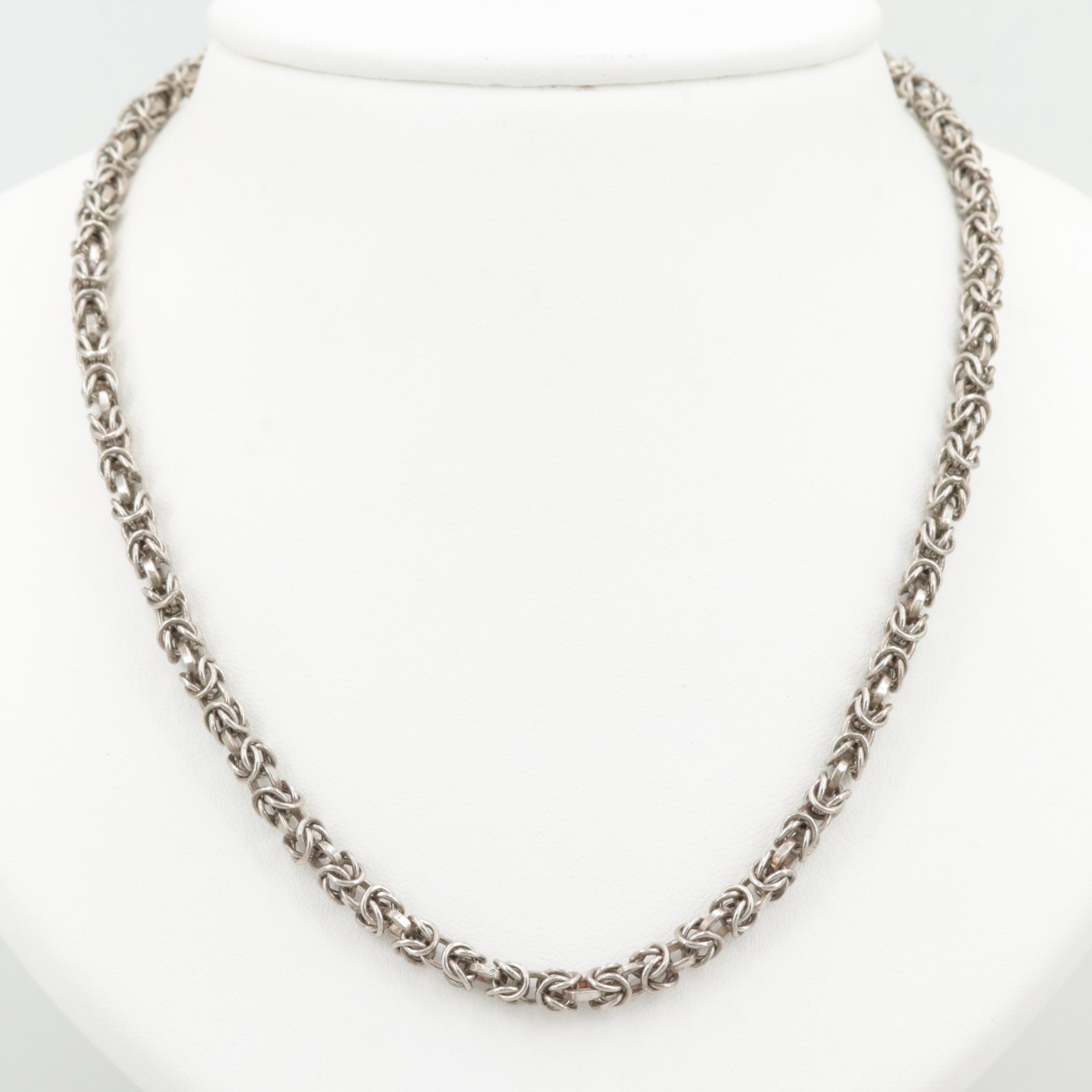 Sterling Silver Byzantine Link Necklace