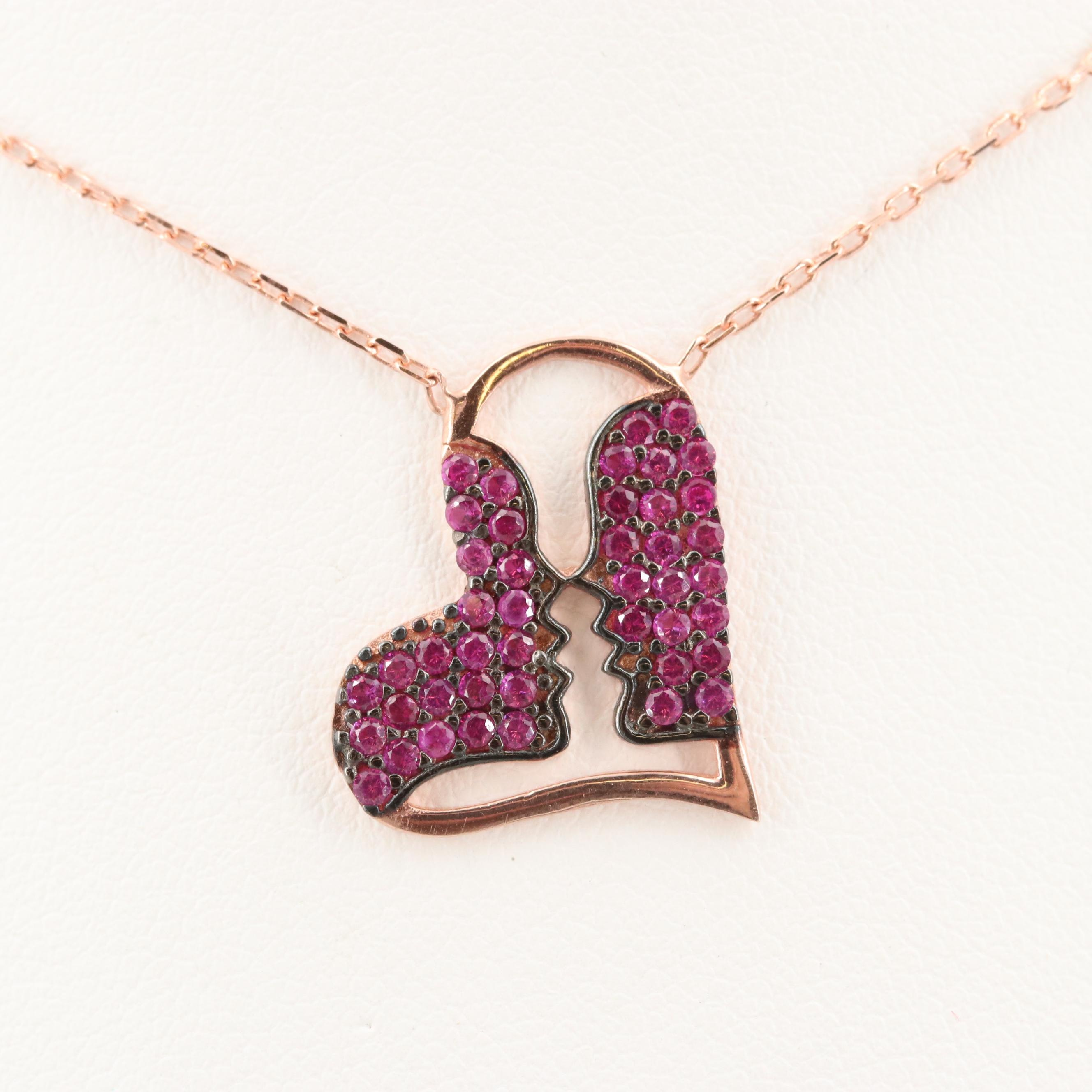 Rose Gold Wash on Sterling Silver Synthetic Ruby Heart with Two Faces Necklace