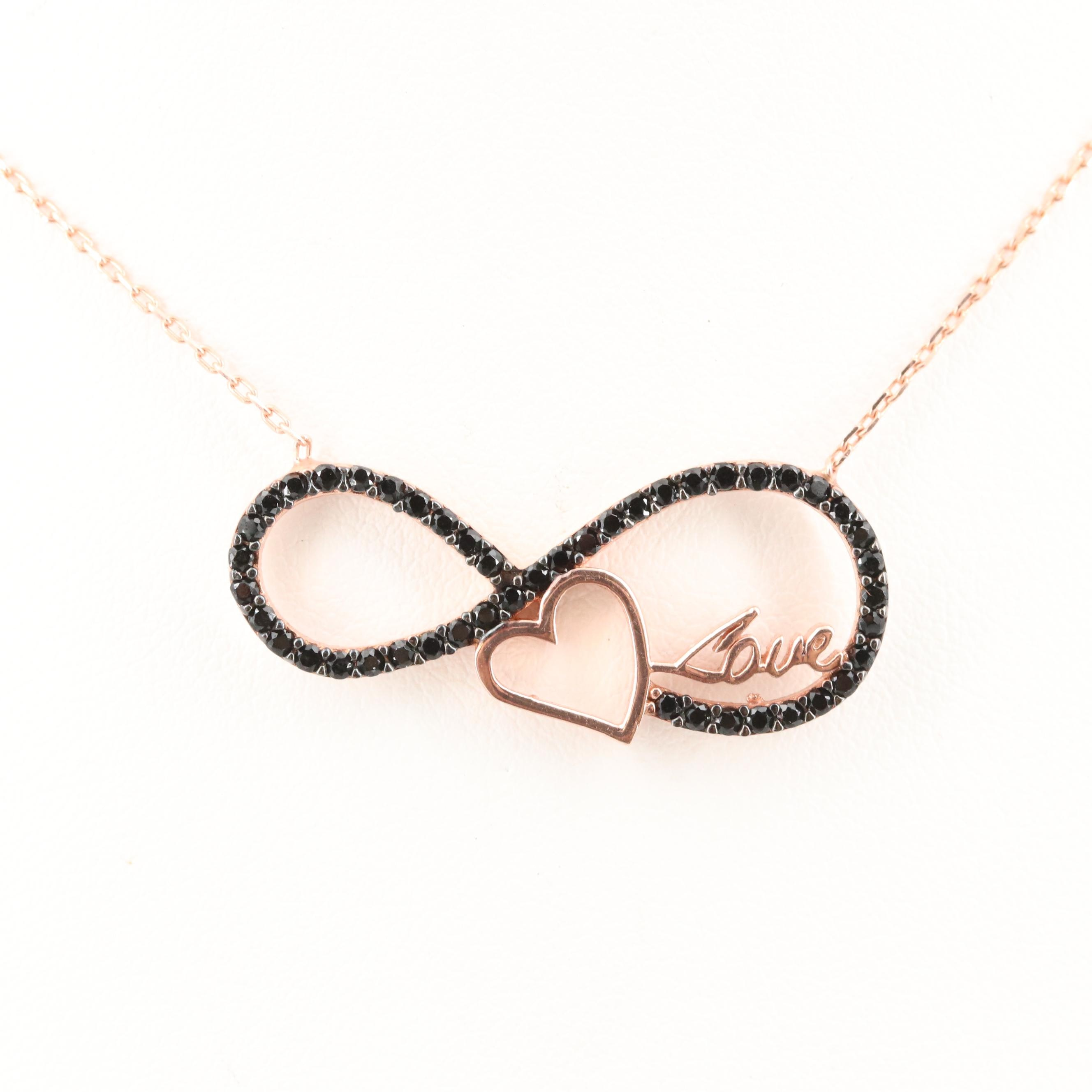 """Rose Gold Wash on Sterling Synthetic Spinel Infinity, Heart and """"Love"""" Necklace"""