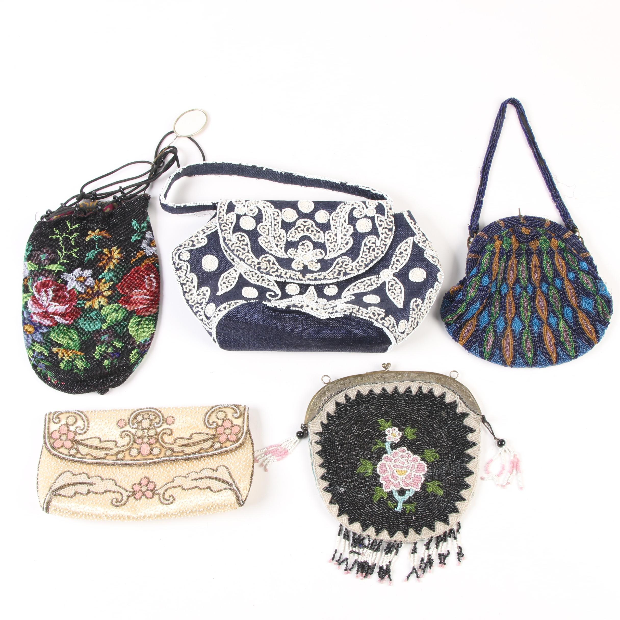 Beaded Evening Bags, Featuring Made in France, Early 20th Century