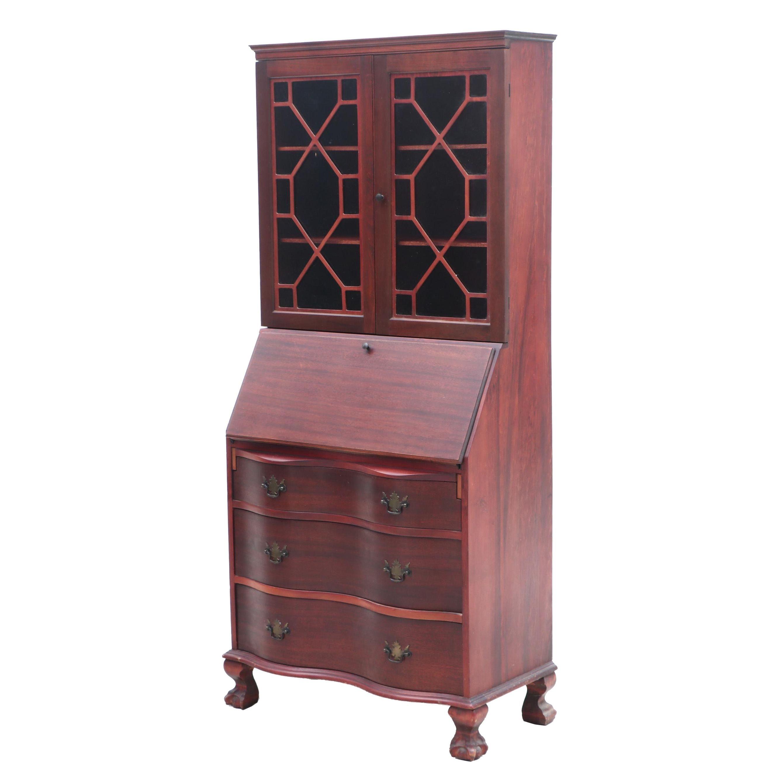 Chippendale Style R.I. Blauser & Sons Mahogany Secretary Bookcase, Circa 1940s