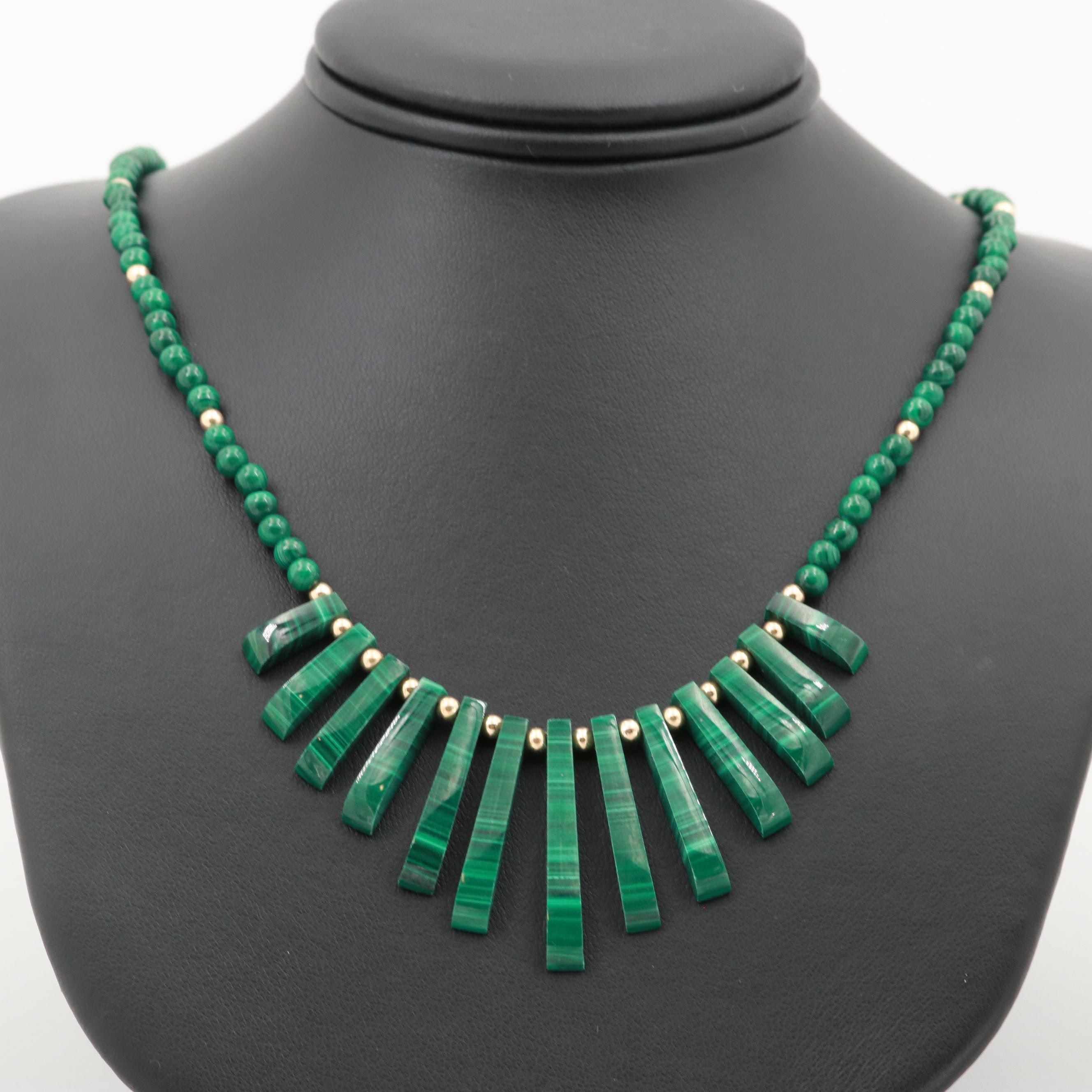 14K Yellow Gold Malachite Bib Necklace