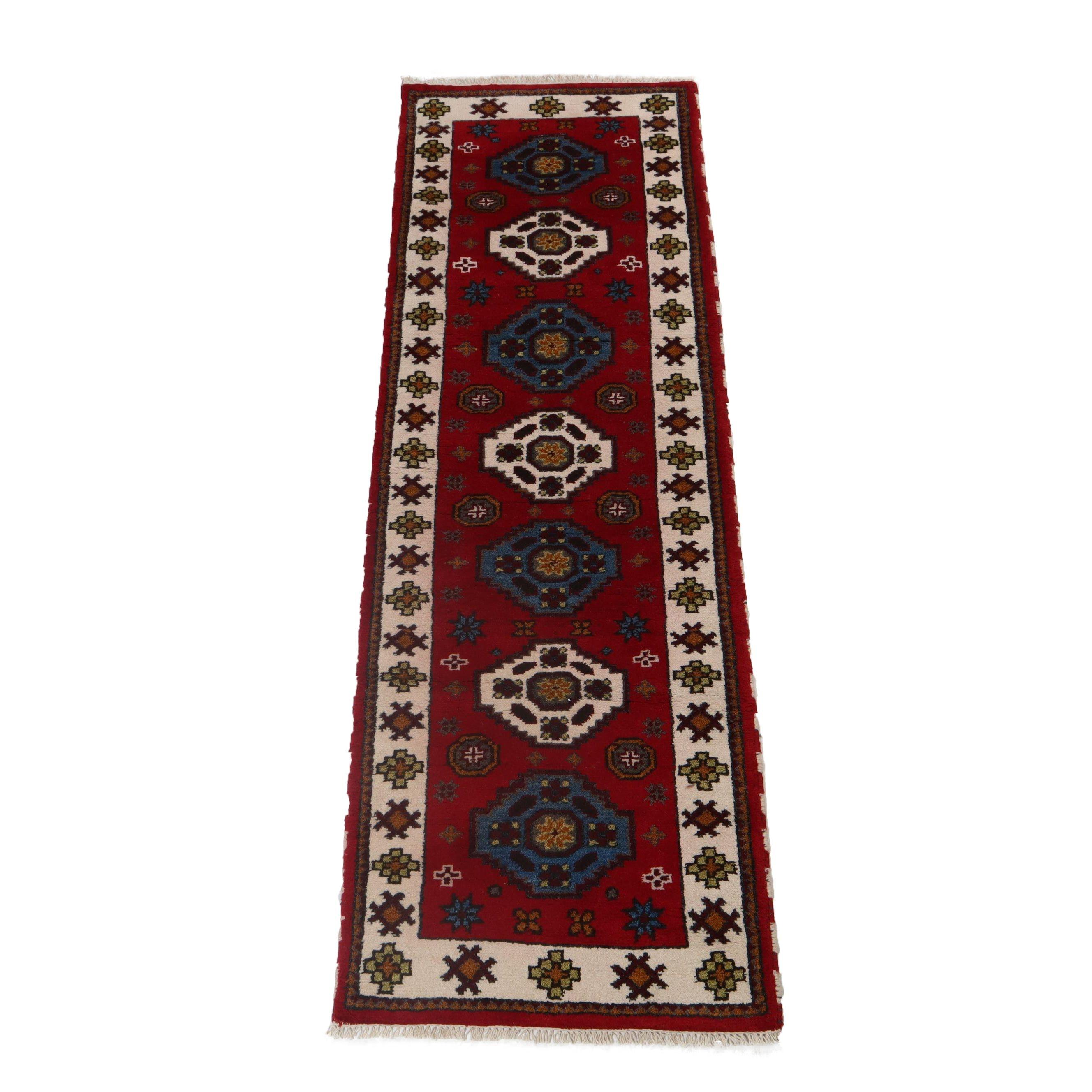 2.8' x 8.5' Hand-Knotted Indo-Caucasian Kazak Wool Carpet Runner