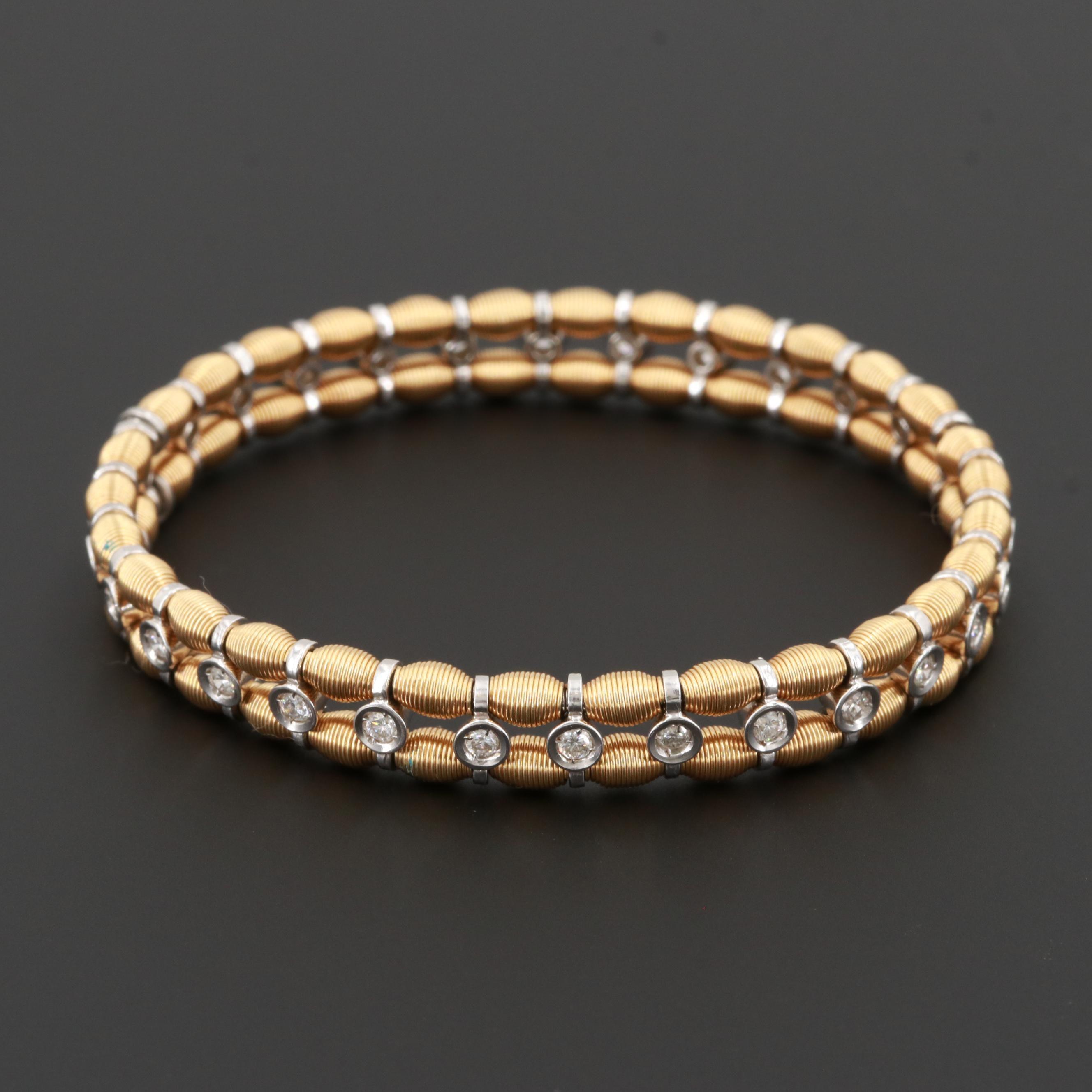 18K Yellow and White Gold 1.20 CTW Diamond Expandable Bracelet