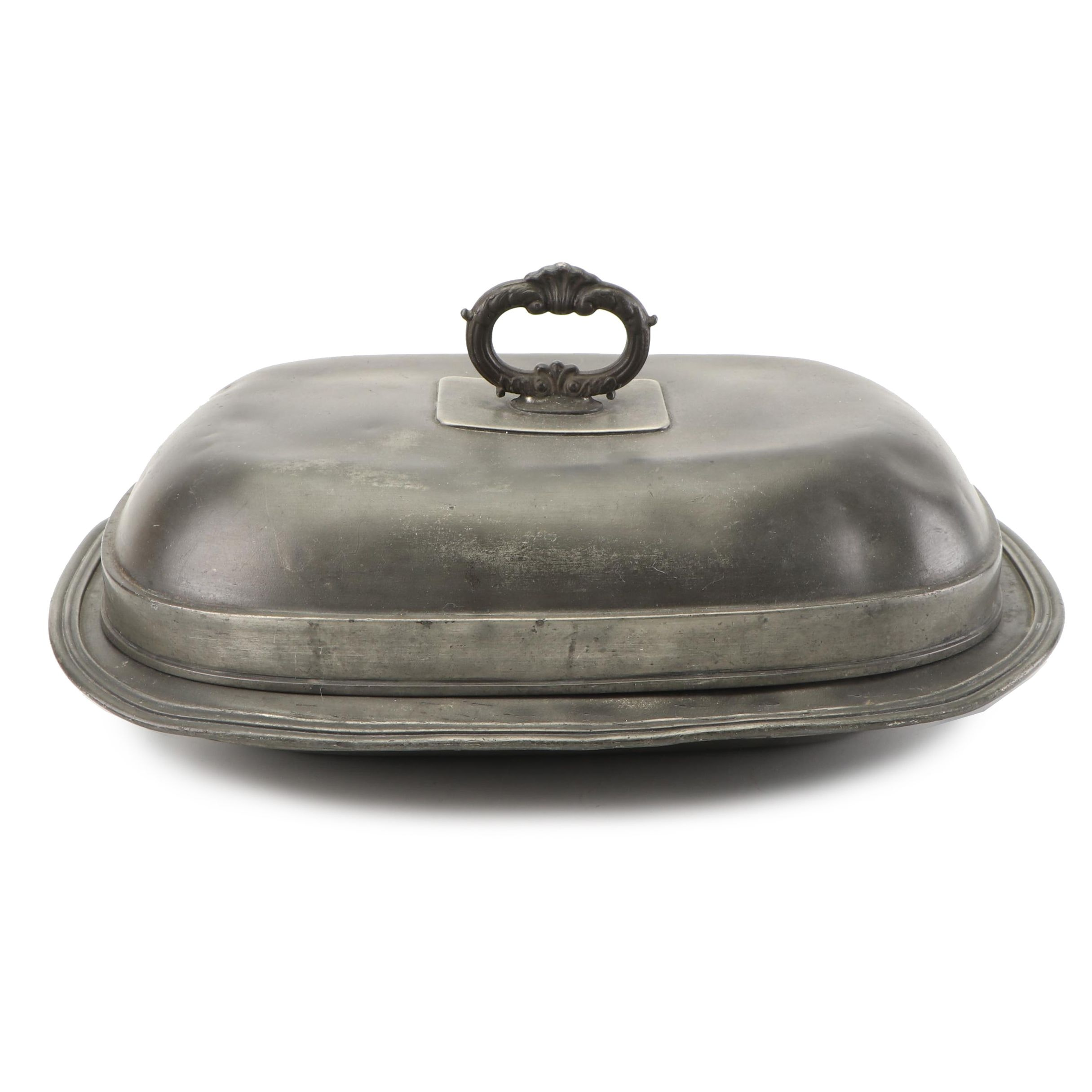Antique Pewter Covered Vegetable Serving Dish