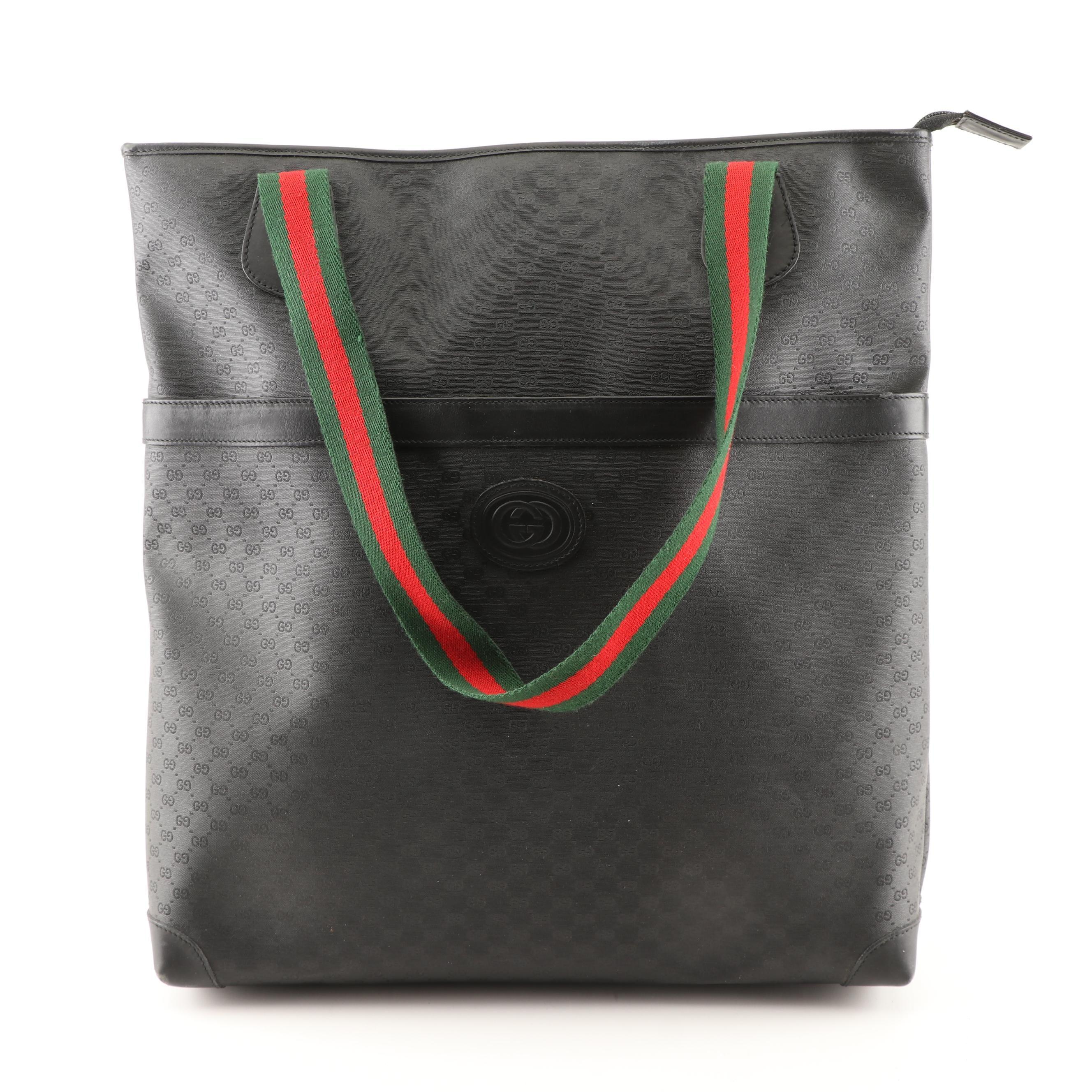 Gucci Black Supreme Canvas and Leather Tote Bag with Web Stripe Straps