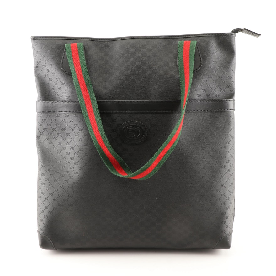 aac7f4f2f9b Gucci Black Supreme Canvas and Leather Tote Bag with Web Stripe Straps