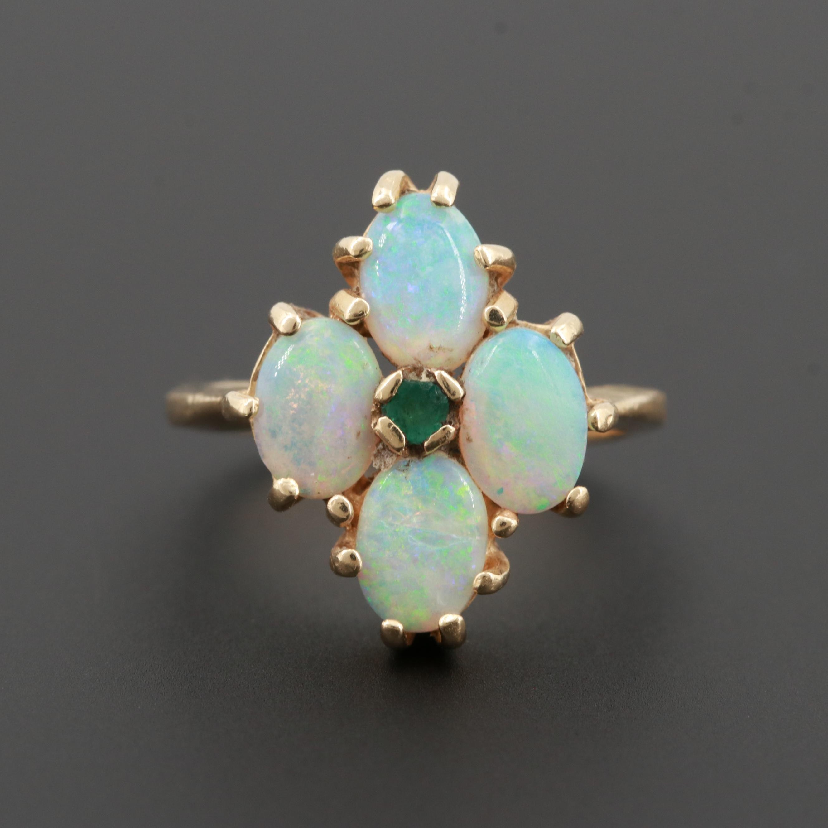 14K Yellow Gold Opal and Emerald Ring