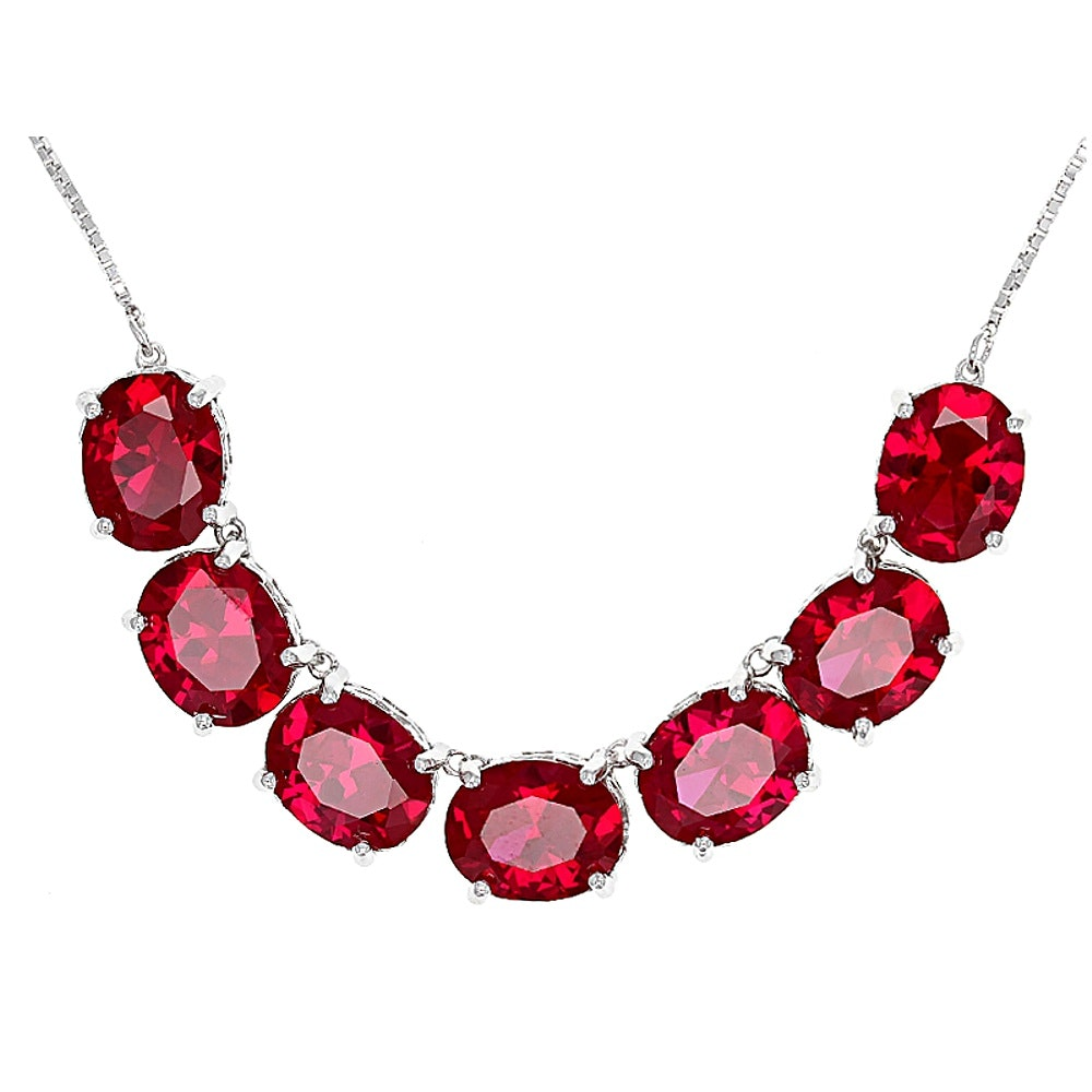 Sterling Silver Synthetic Ruby Necklace