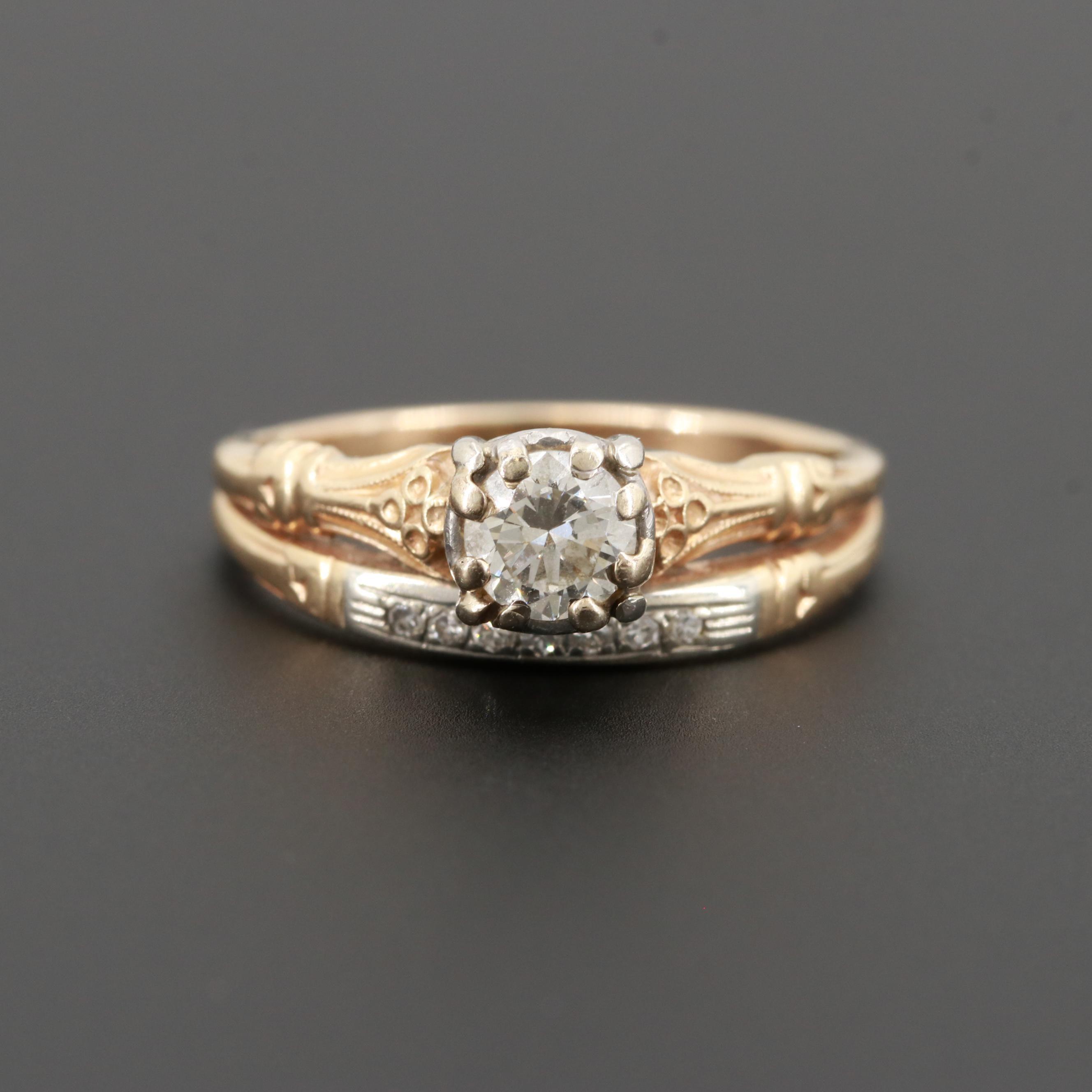Vintage 14K Yellow Gold and Platinum Diamond Ring