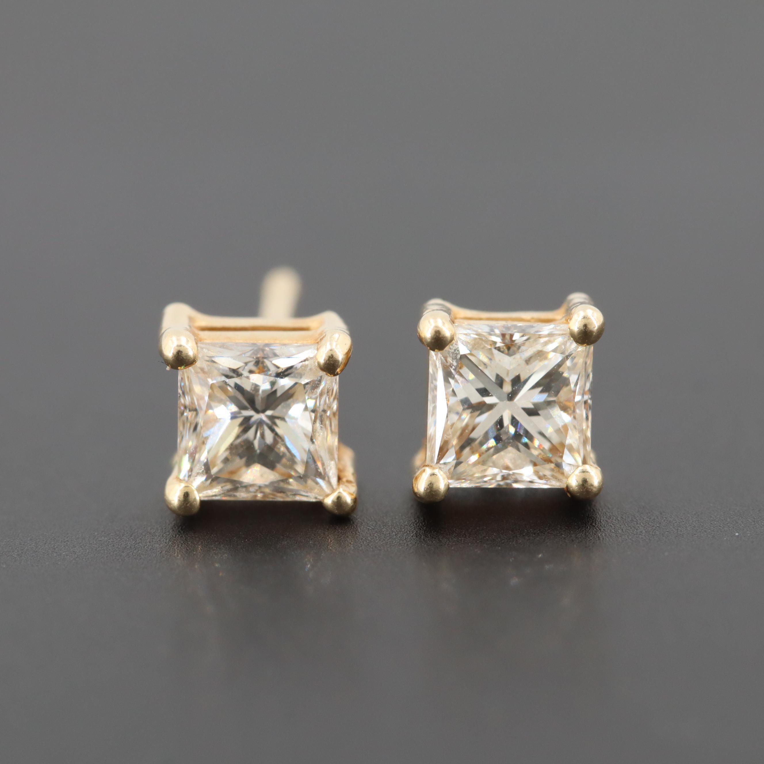 14K Yellow Gold 1.00 CT Diamond Stud Earrings