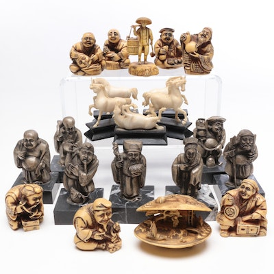 Chinese and Japanese Pewter, Marble, Resin and Wood Figurines