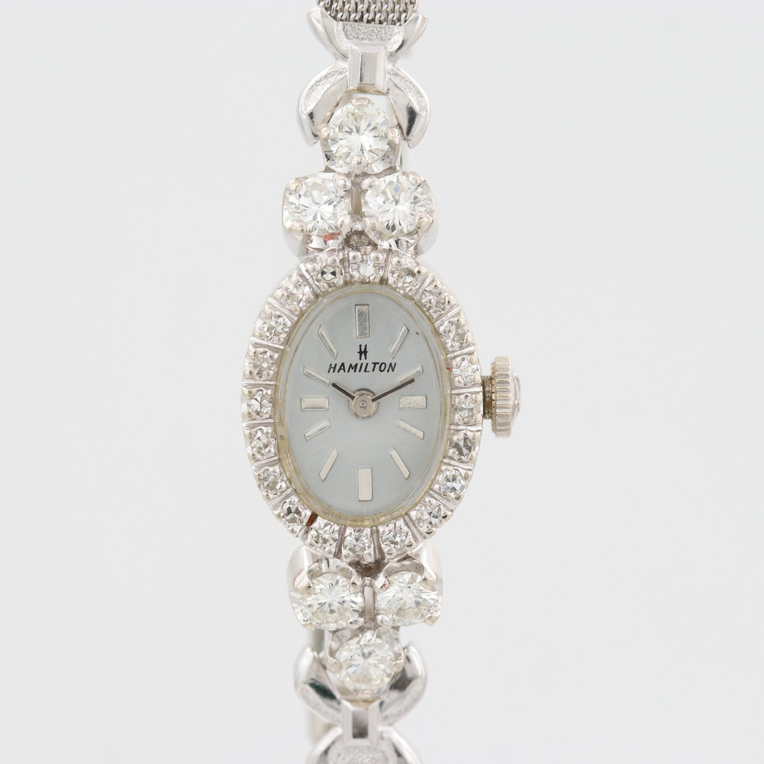 Hamilton 14K White Gold Wristwatch With 1.53 CTW Diamonds