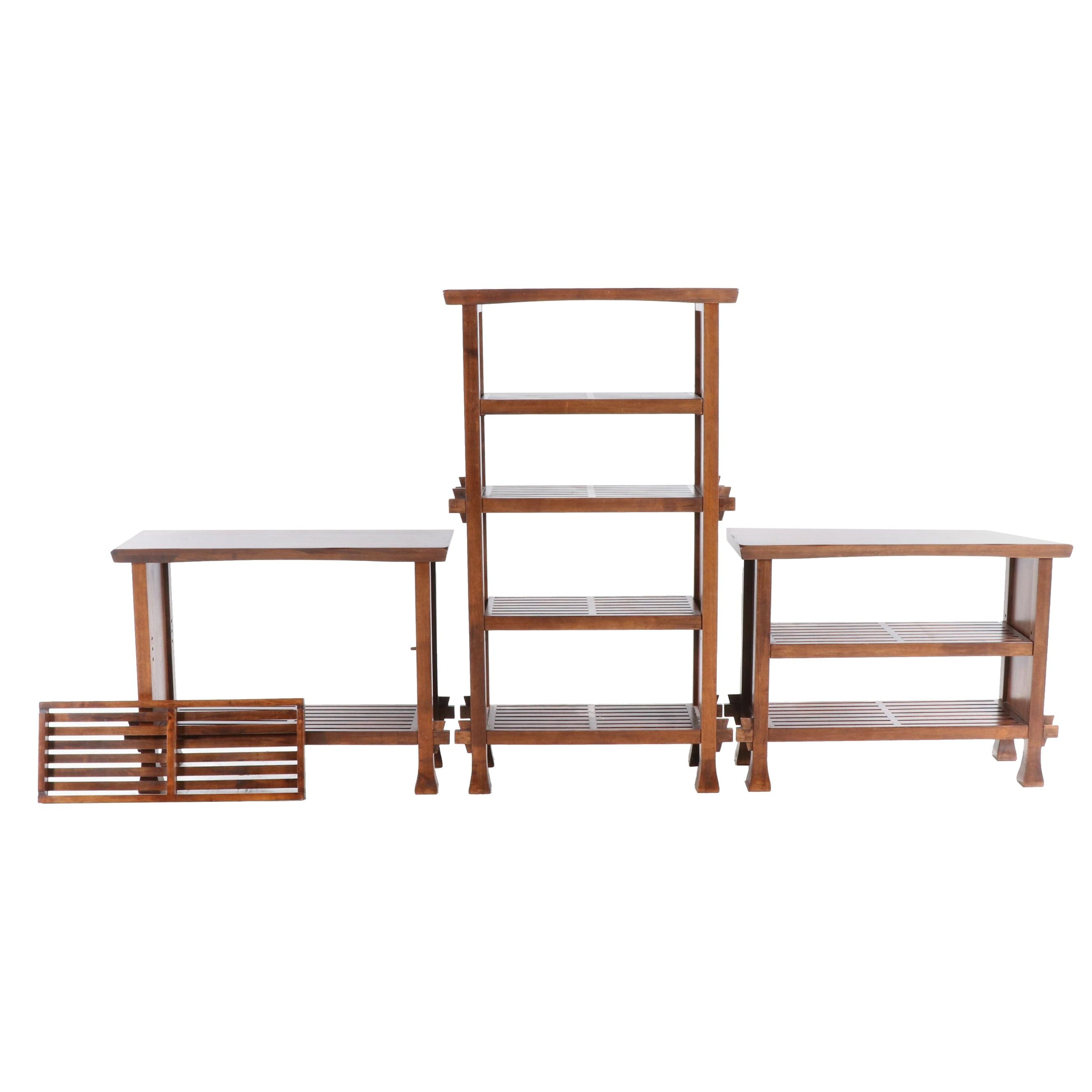 Contemporary Walnut-Finish Console Tables and One Bookcase, Late 20th Century