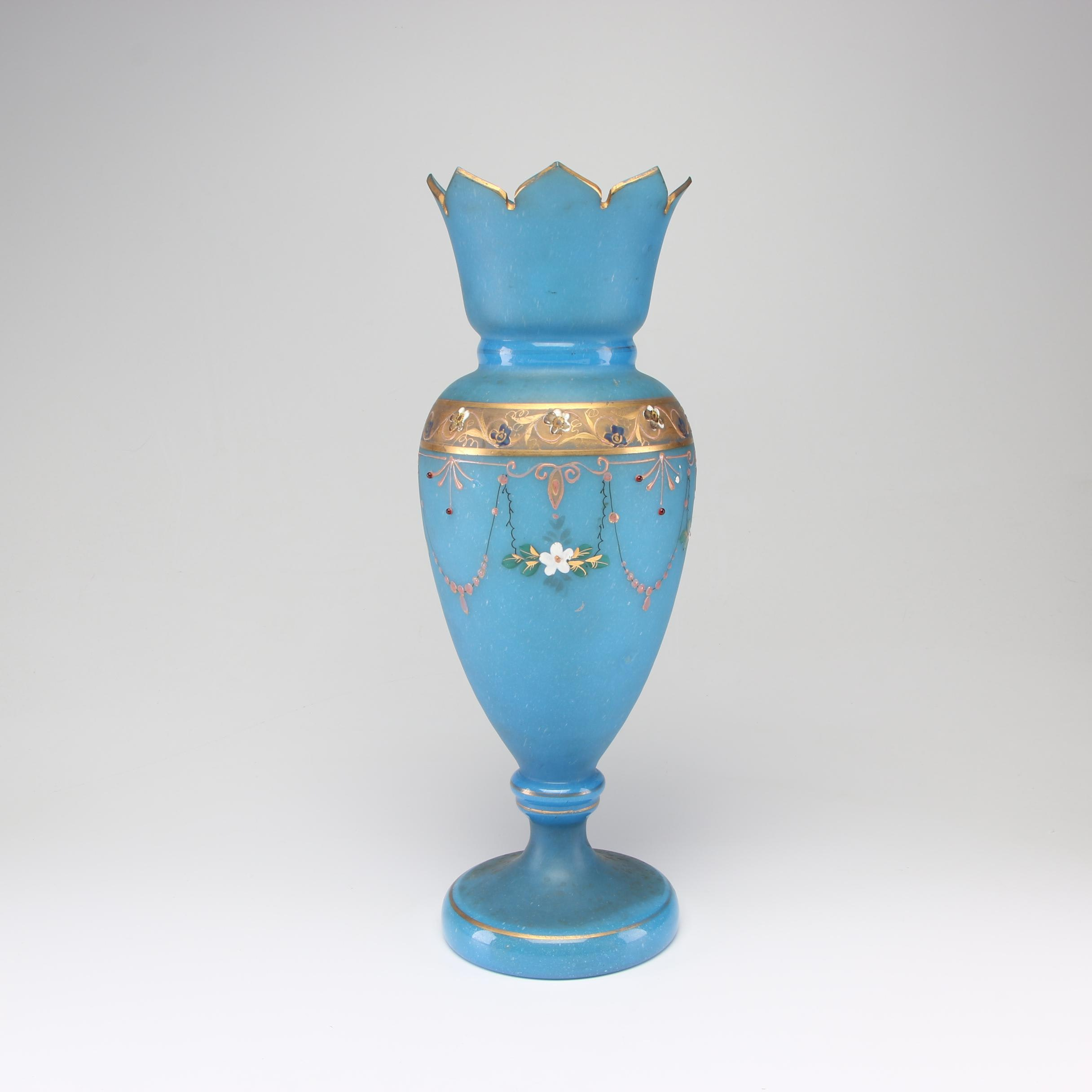 Bohemian Hand-Painted Robin's Egg Blue Vase with Gilt Accents