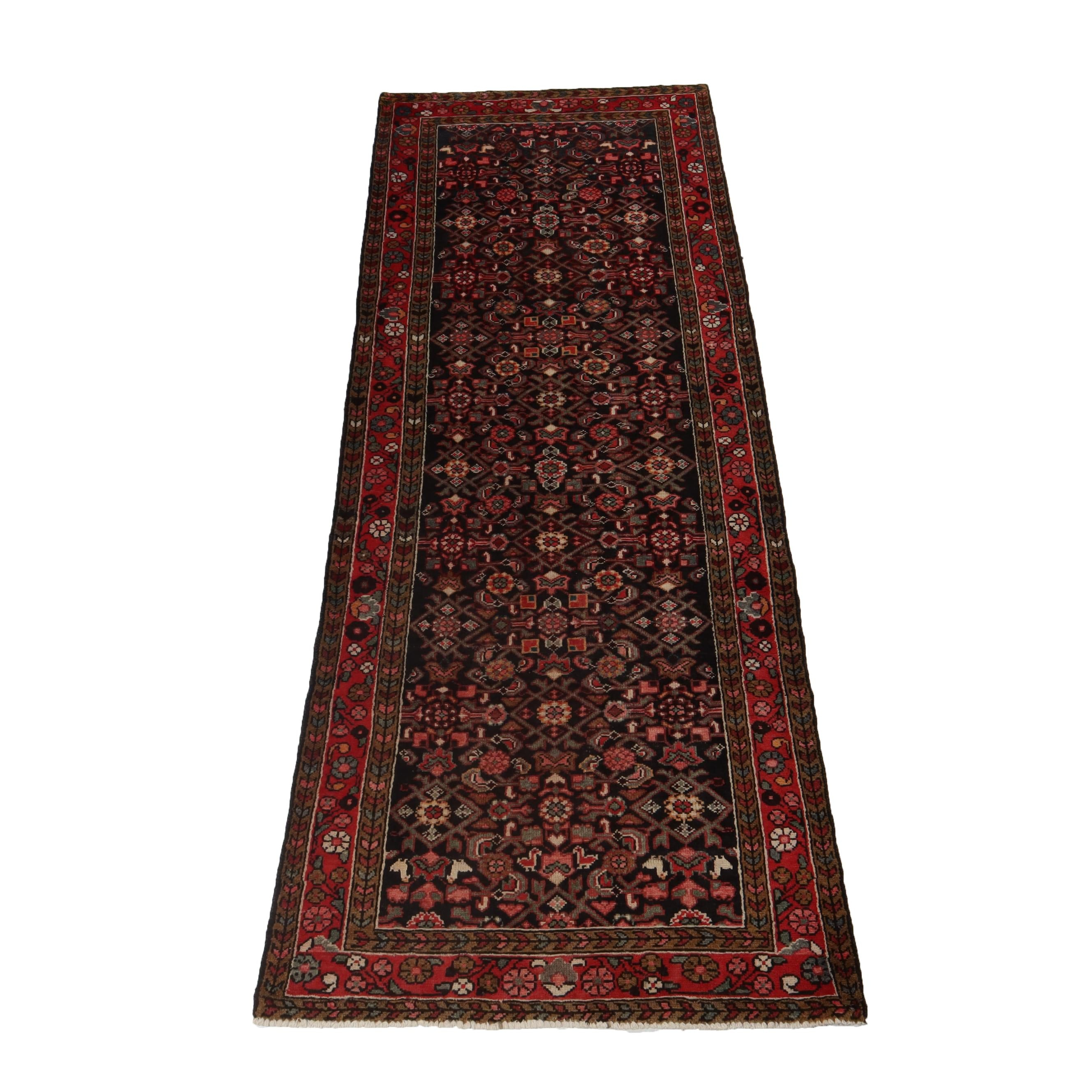 3'10 x 9'6 Hand-Knotted Persian Mahal Wool Long Rug, Circa 1950