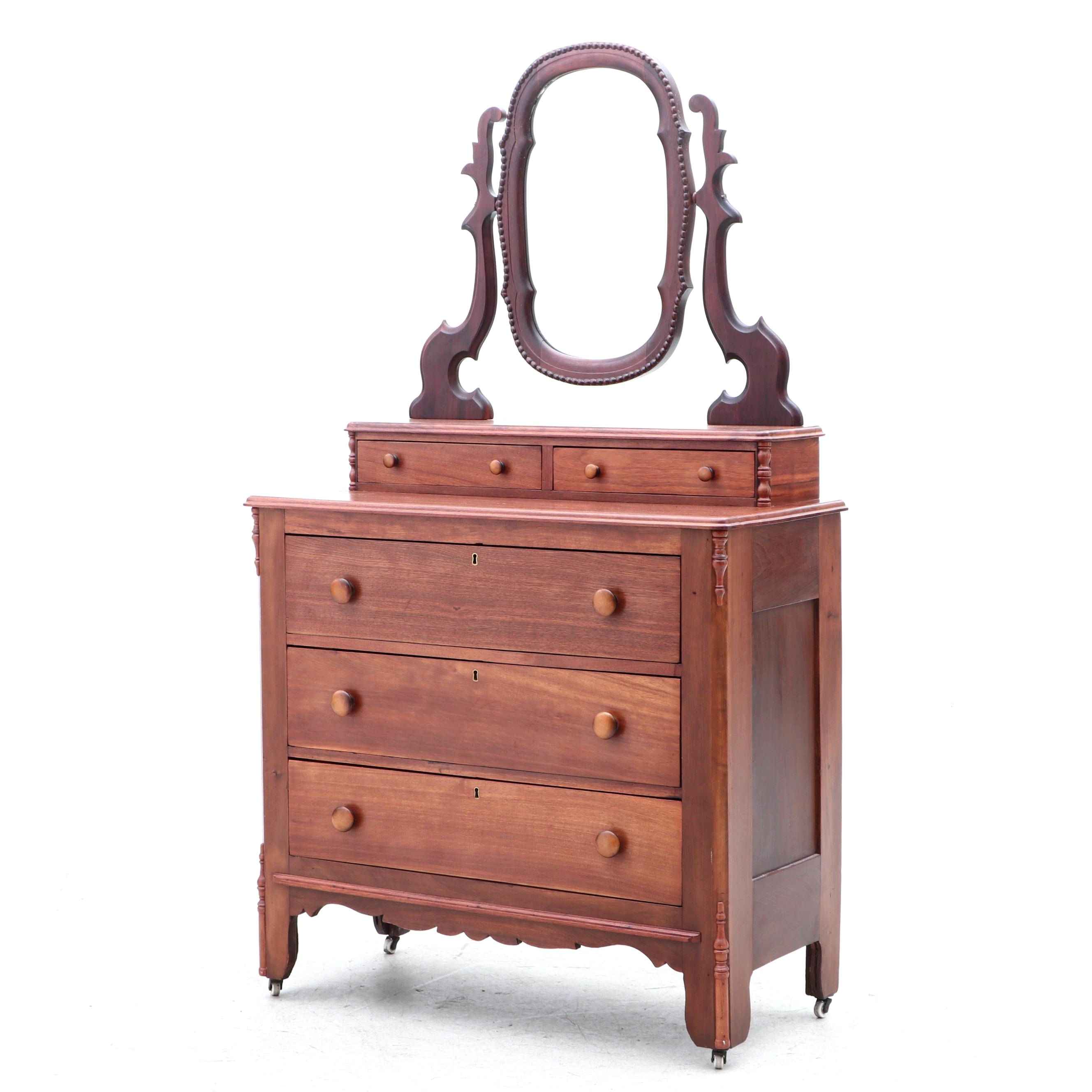 Early Victorian Walnut Dresser with Mirror, Circa 1860s