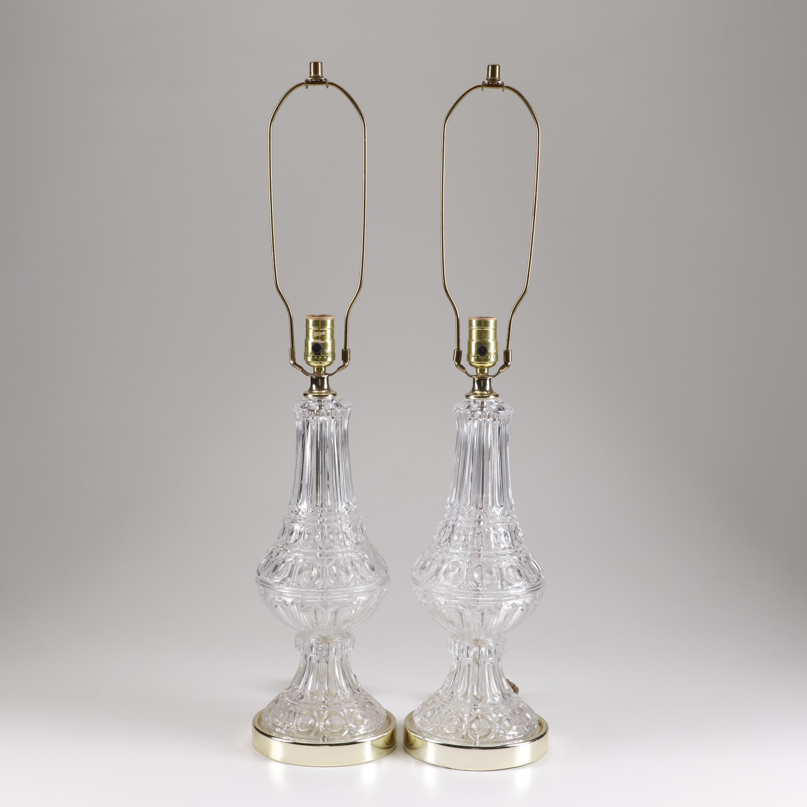 Pressed Glass Table Lamps, Mid 20th Century