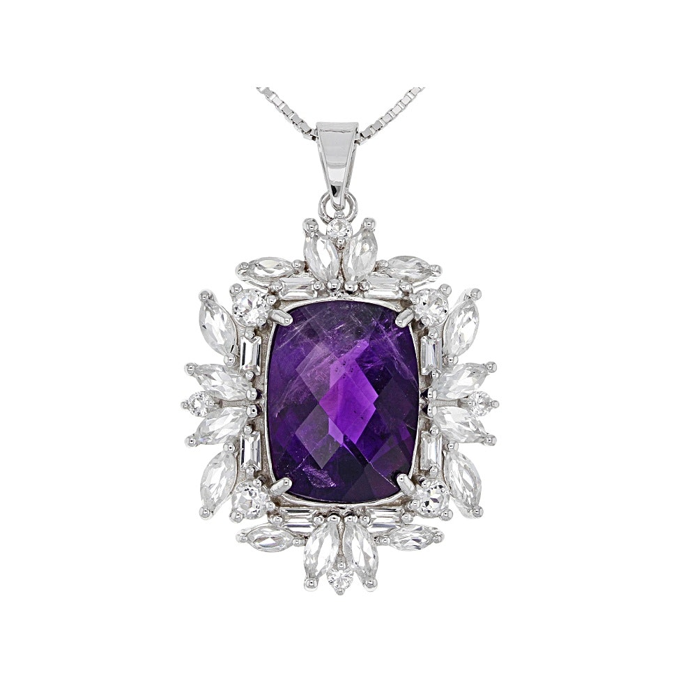 Sterling Silver Amethyst and Topaz Pendant with Chain