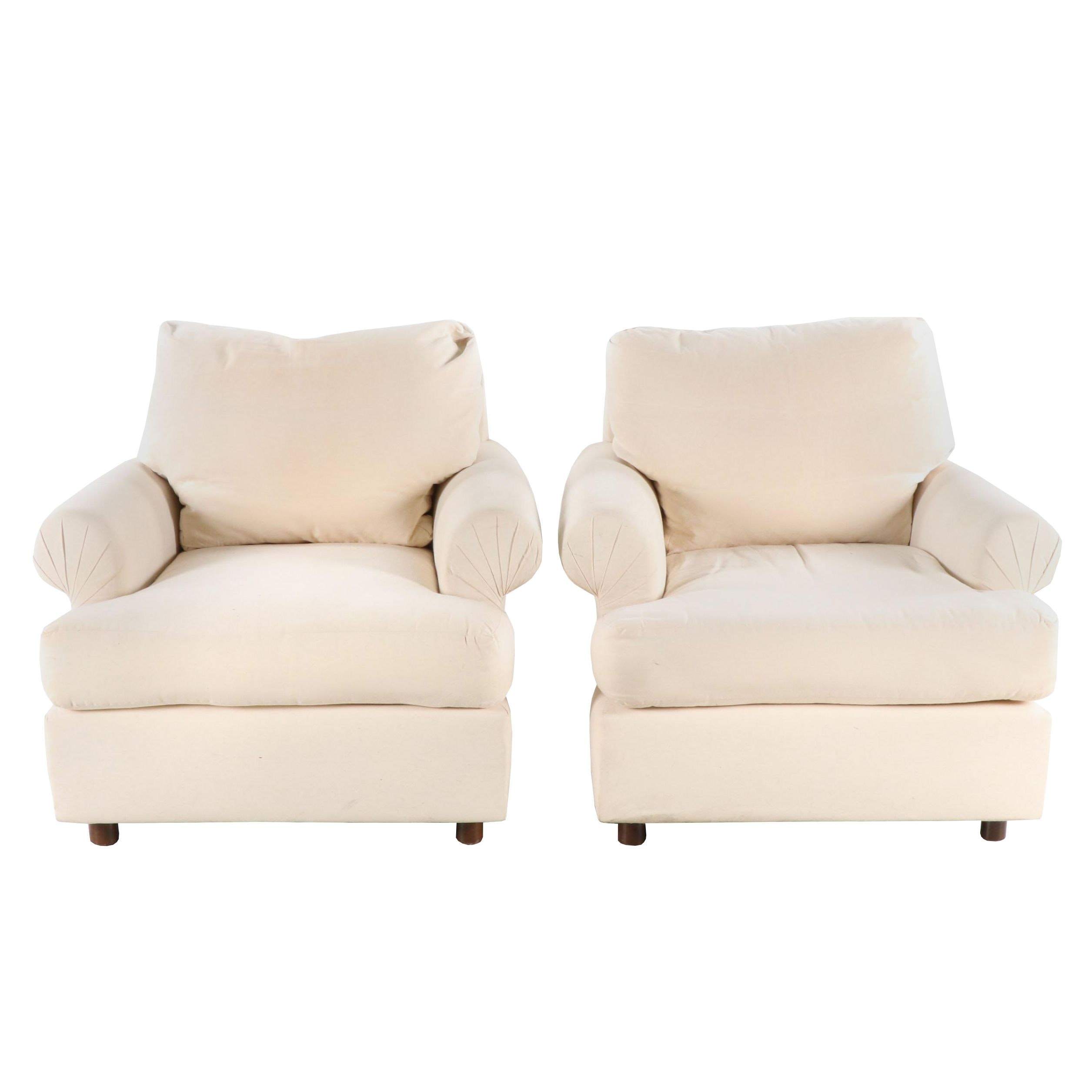 """Mark Anthony """"Dino"""" Slipcover Club Chairs, Contemporary"""