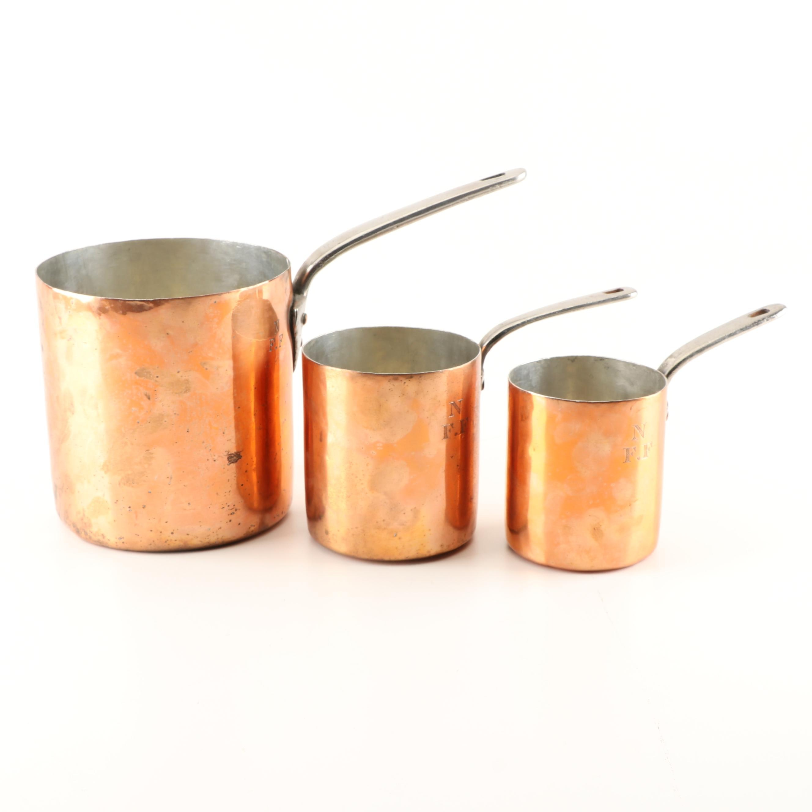 Three Jones Brothers Victorian English, Tin-Lined Copper Pots, Late 19th Century