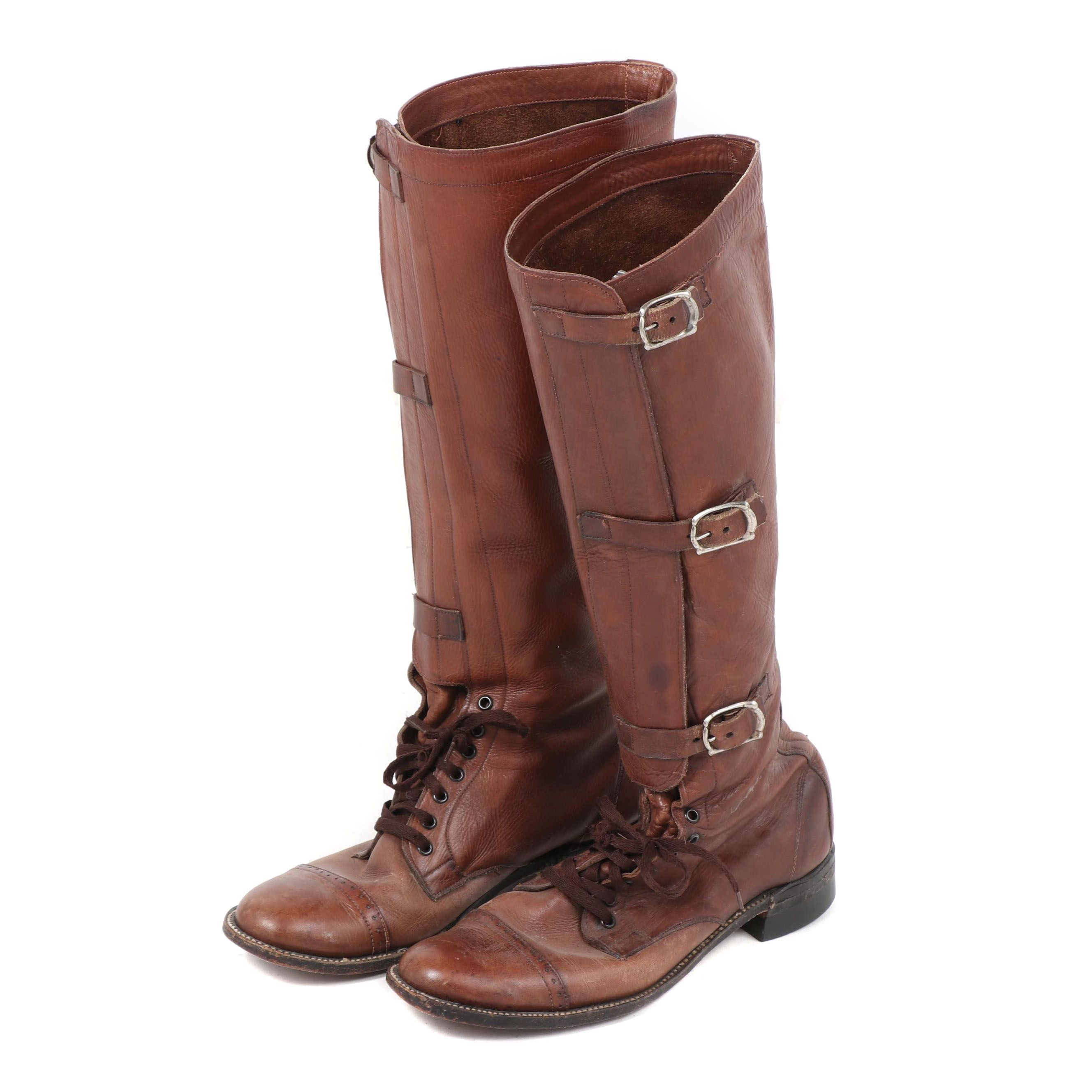 Men's Brown Leather Military Officer's Style Field Boots, Vintage