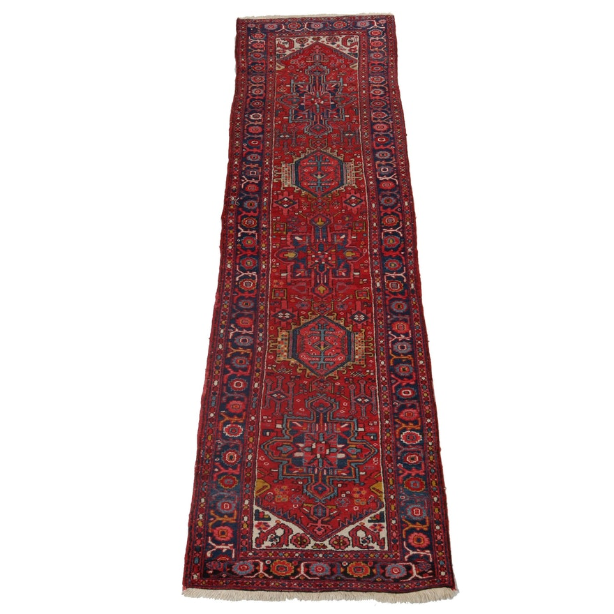 3'1 x 10'8 Hand-Knotted Persian Karaja Heriz Wool Carpet Runner, Circa 1930
