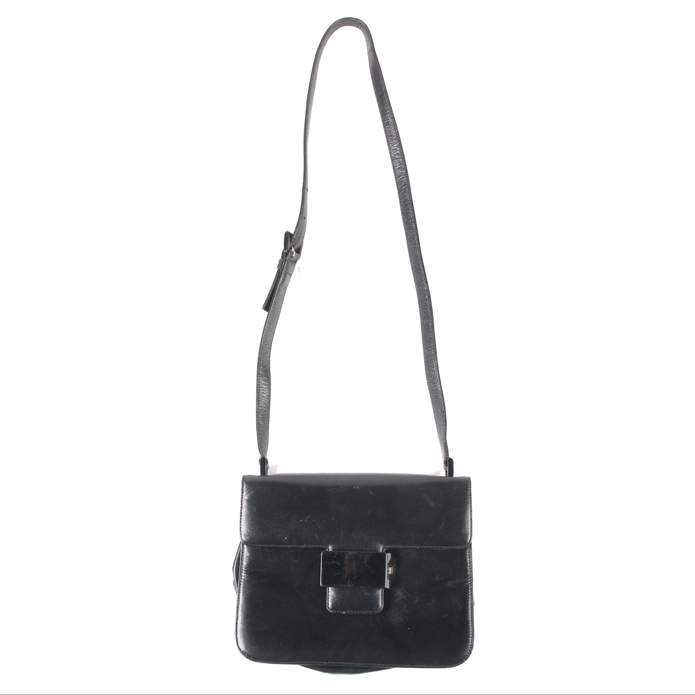Prada Flap Front Black Leather Crossbody Shoulder Bag