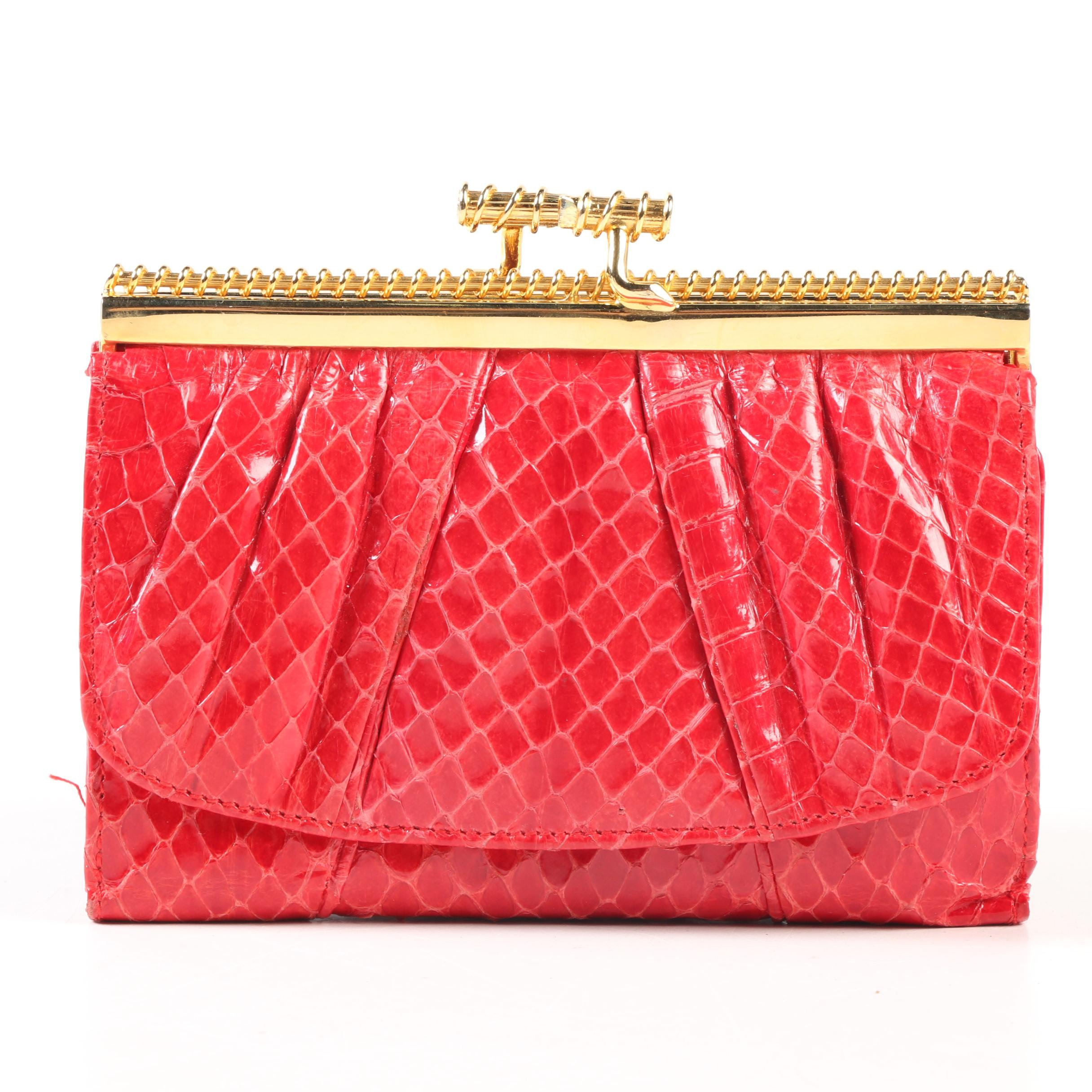 Judith Leiber Red Snakeskin and Leather Coin Purse Wallet, Vintage