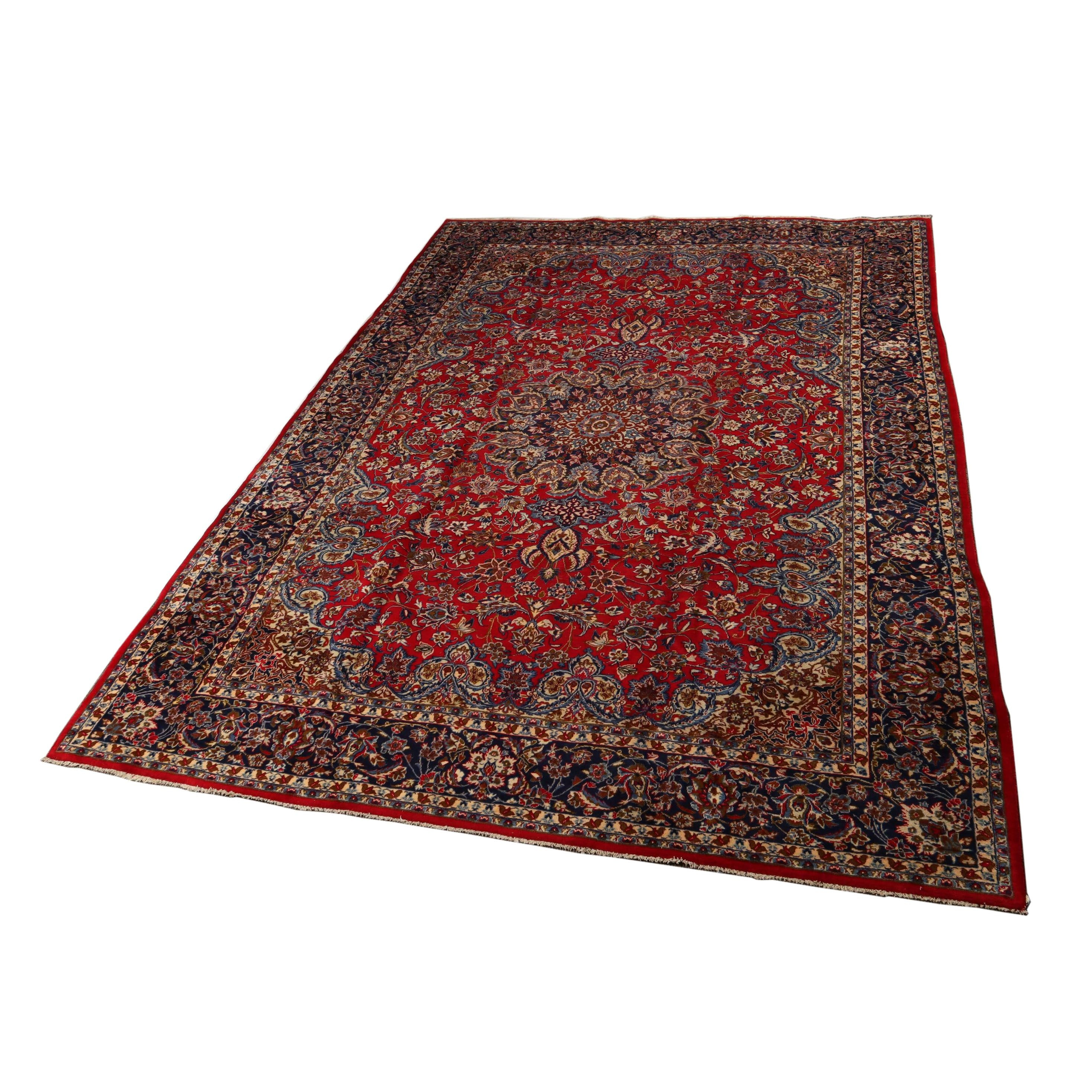 Hand-Knotted Persain Nain Wool Room Sized Rug
