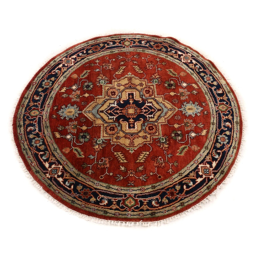 Hand-Knotted Indo-Persian Heriz Wool Round Rug
