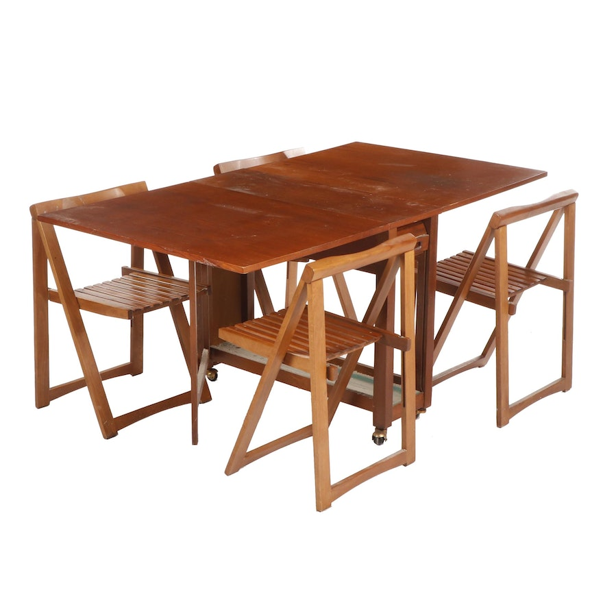 Mid Century Teak Drop Leaf Dining Table with Space Saving Chairs & Chair Storage