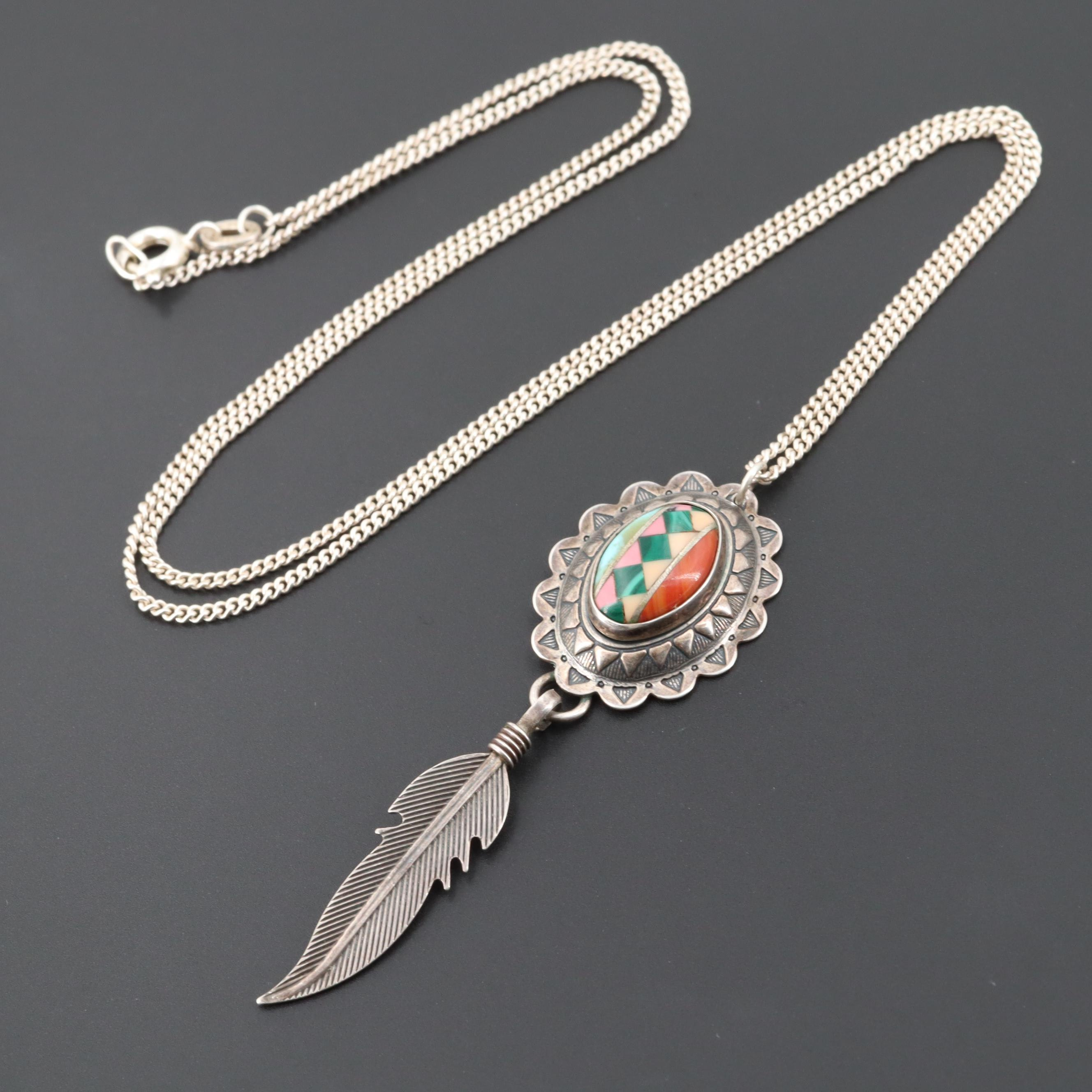 Sterling Silver and 800 Turquoise, Malachite and Spiny Oyster Pendant Necklace