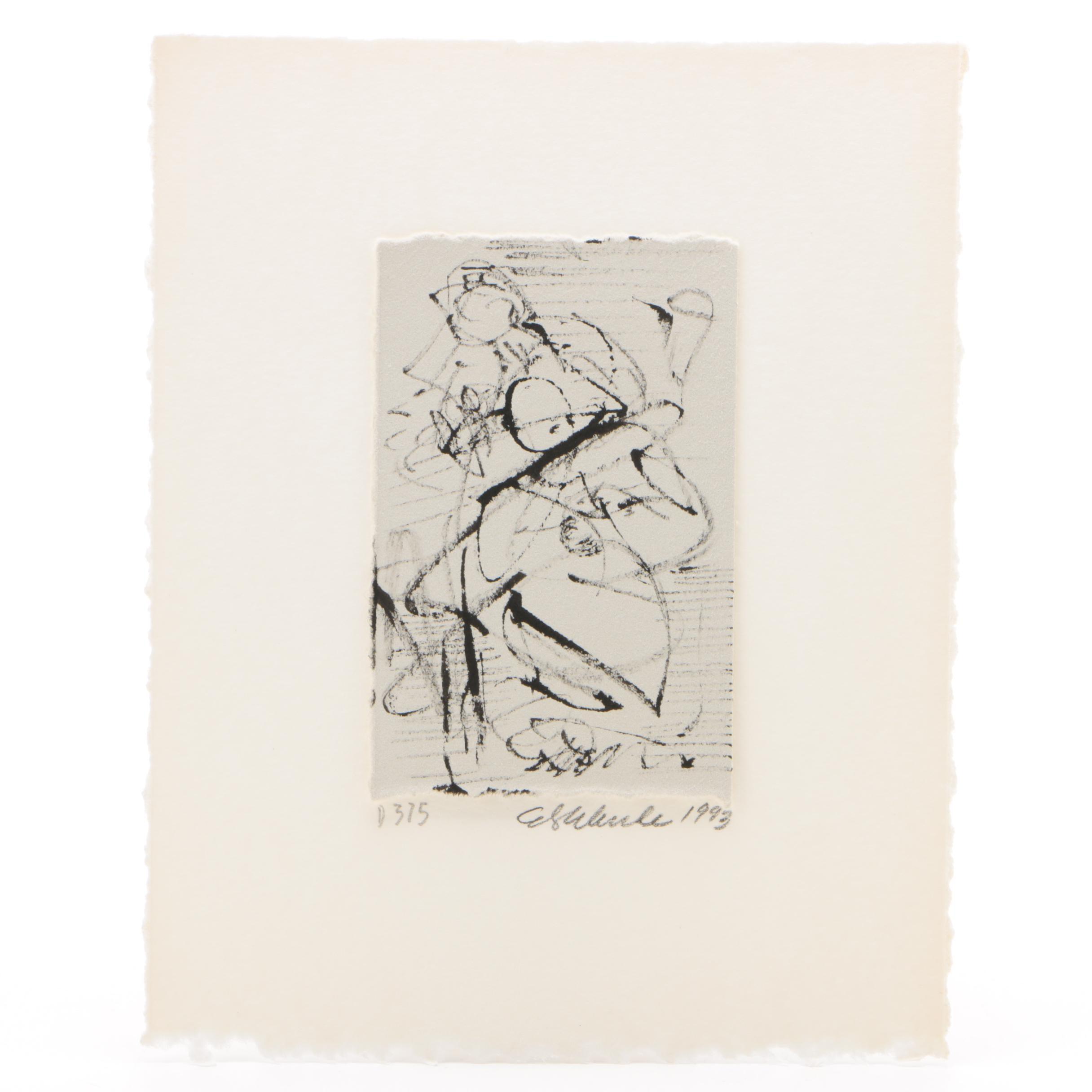 Edward Eberle 1993 Linear Ink Drawing