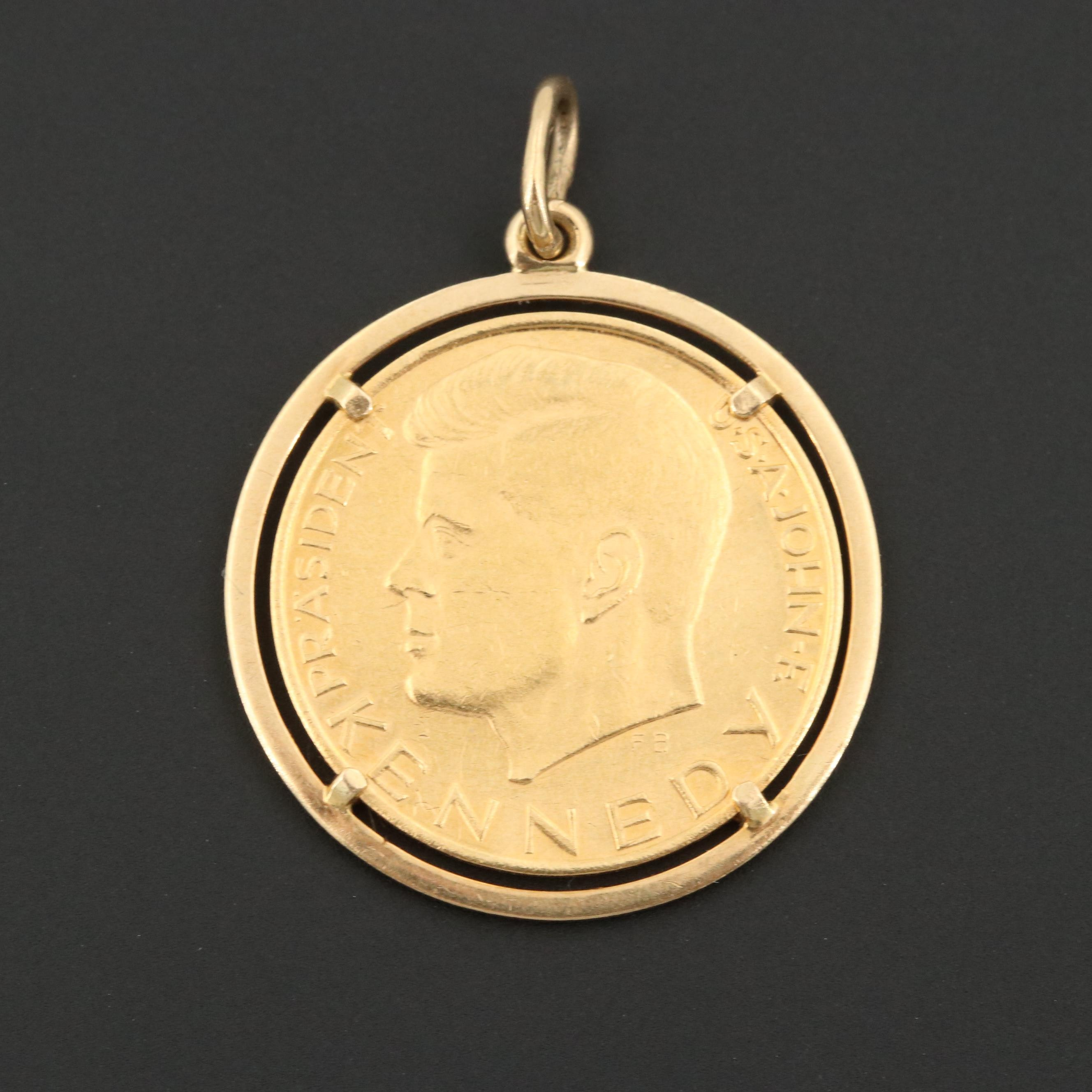 German JFK Gold Tribute Medal with 18K Accents