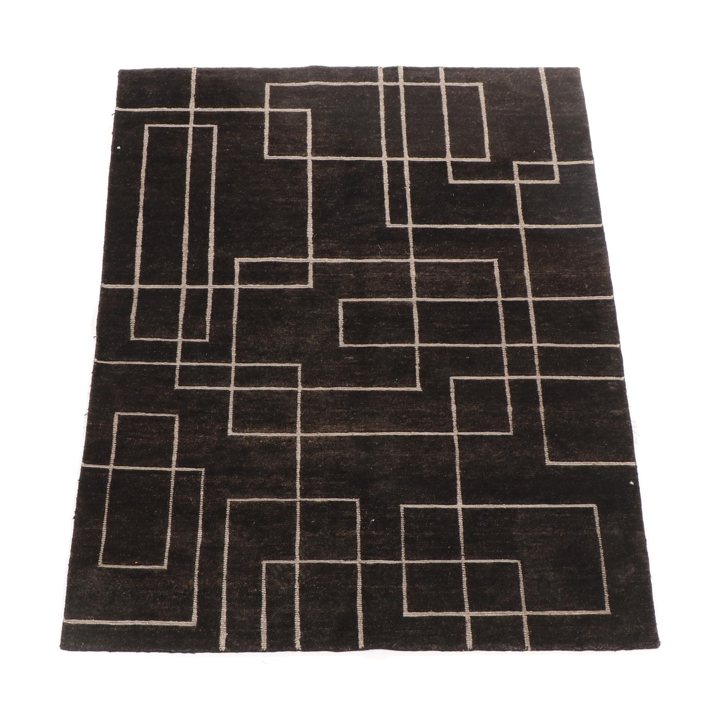 Hand-Knotted Indo-Tibetan Wool Rug from Oscar Isberian