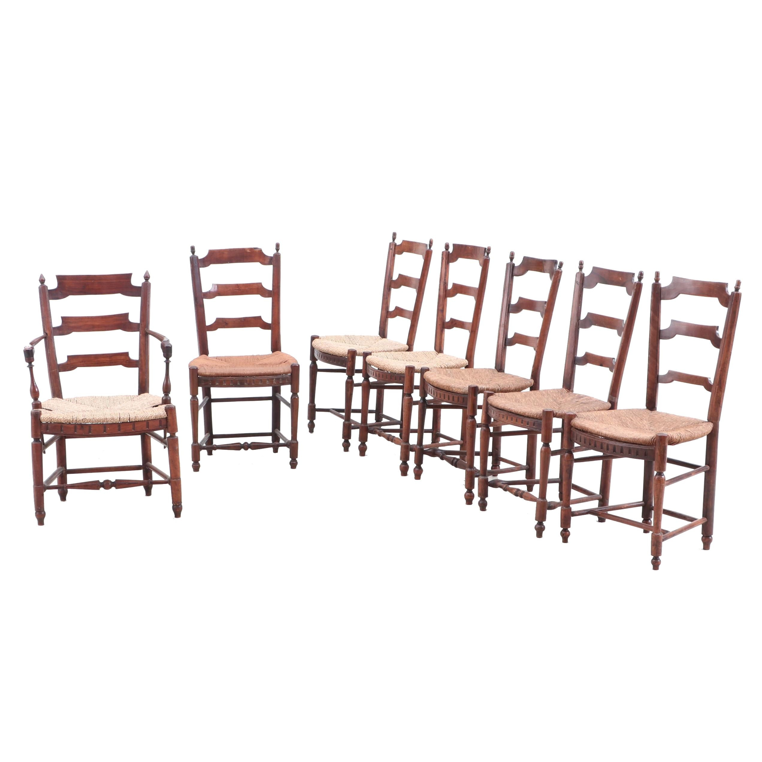 French Walnut Arm and Side Chairs with Rush Seats, 19th Century