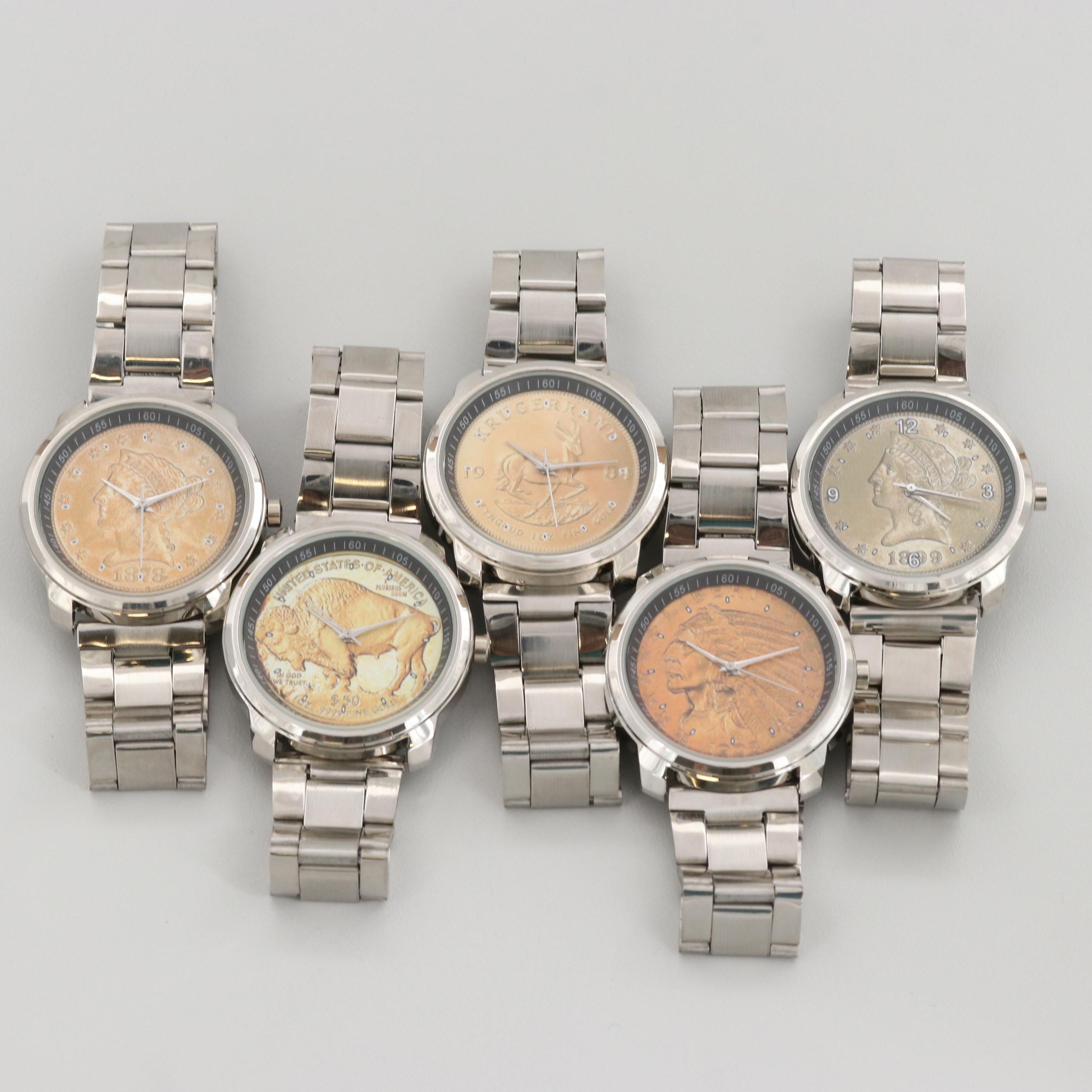 Five Simulated Coin Dial Quartz Wristwatches