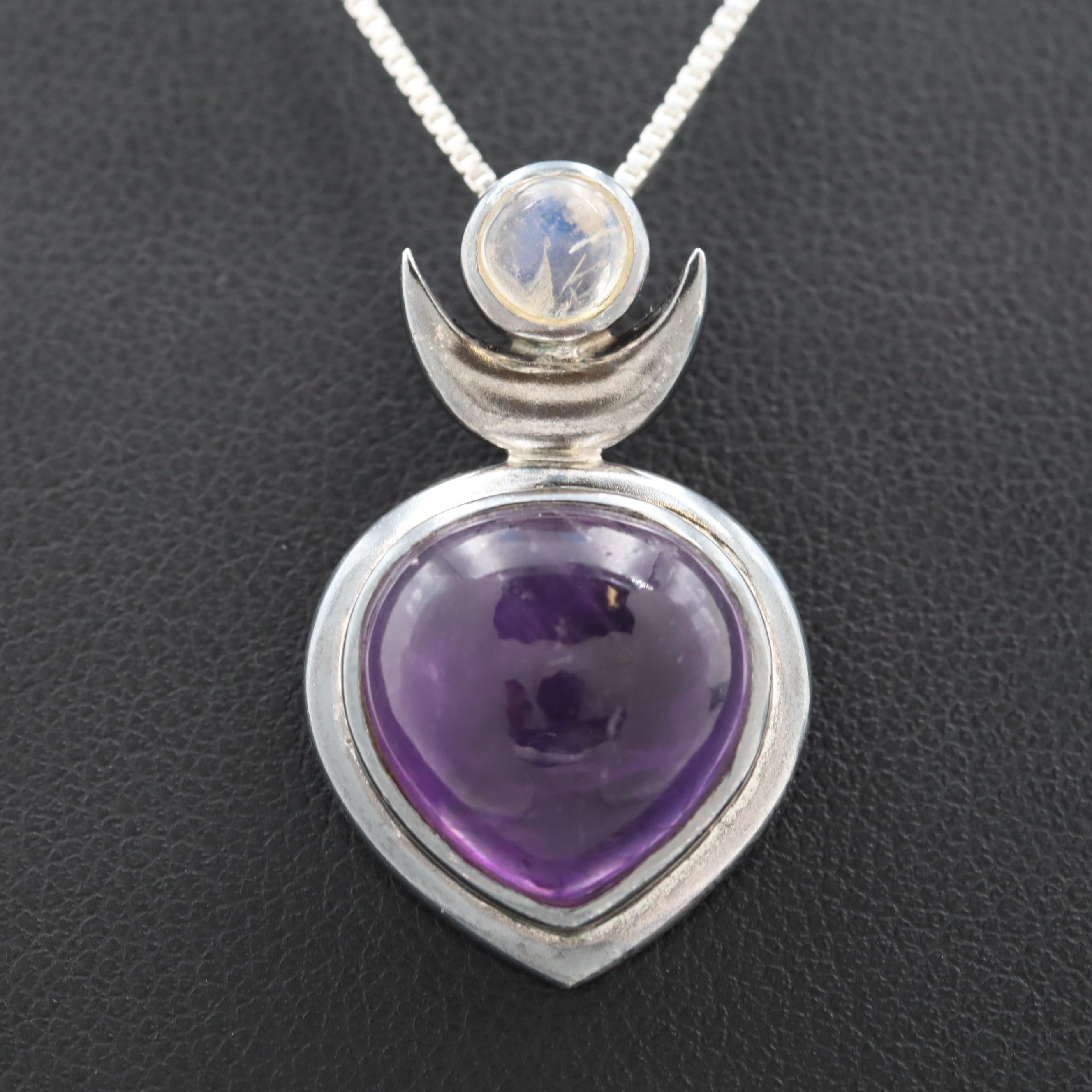 Sterling Silver Amethyst and Rainbow Moonstone Pendant Necklace