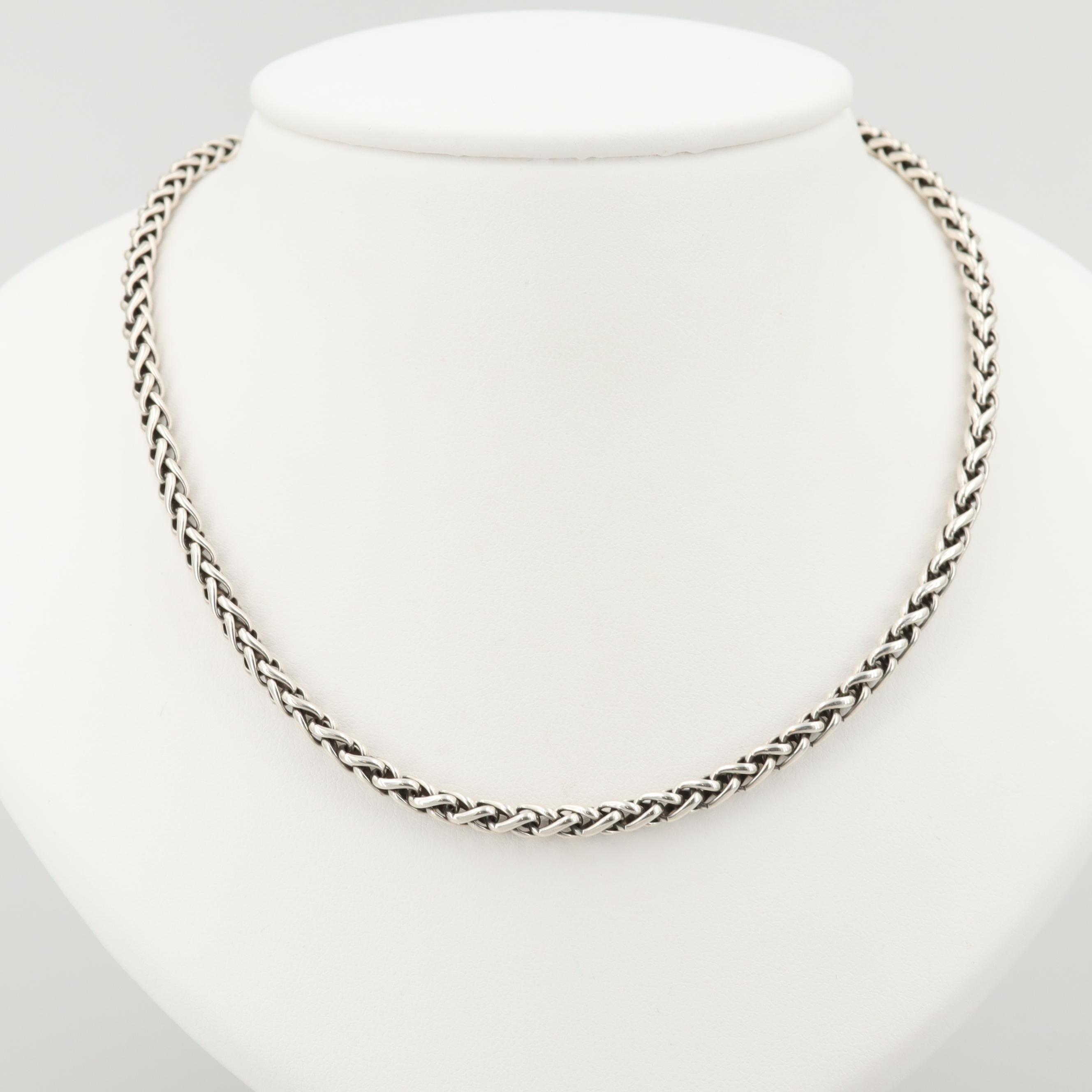 David Yurman Sterling Silver Wheat Chain Necklace