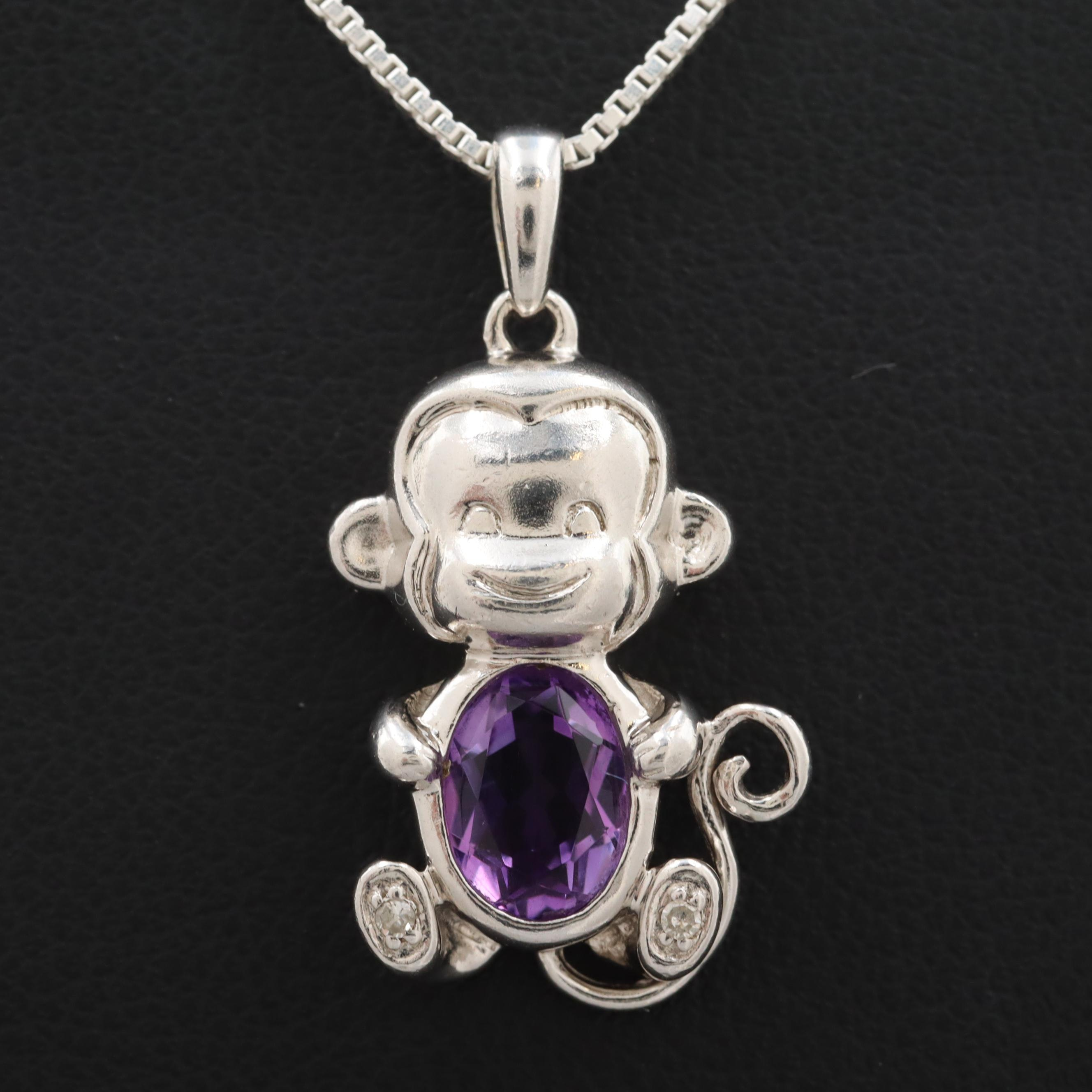 Sterling Silver Amethyst Monkey Pendant Necklace