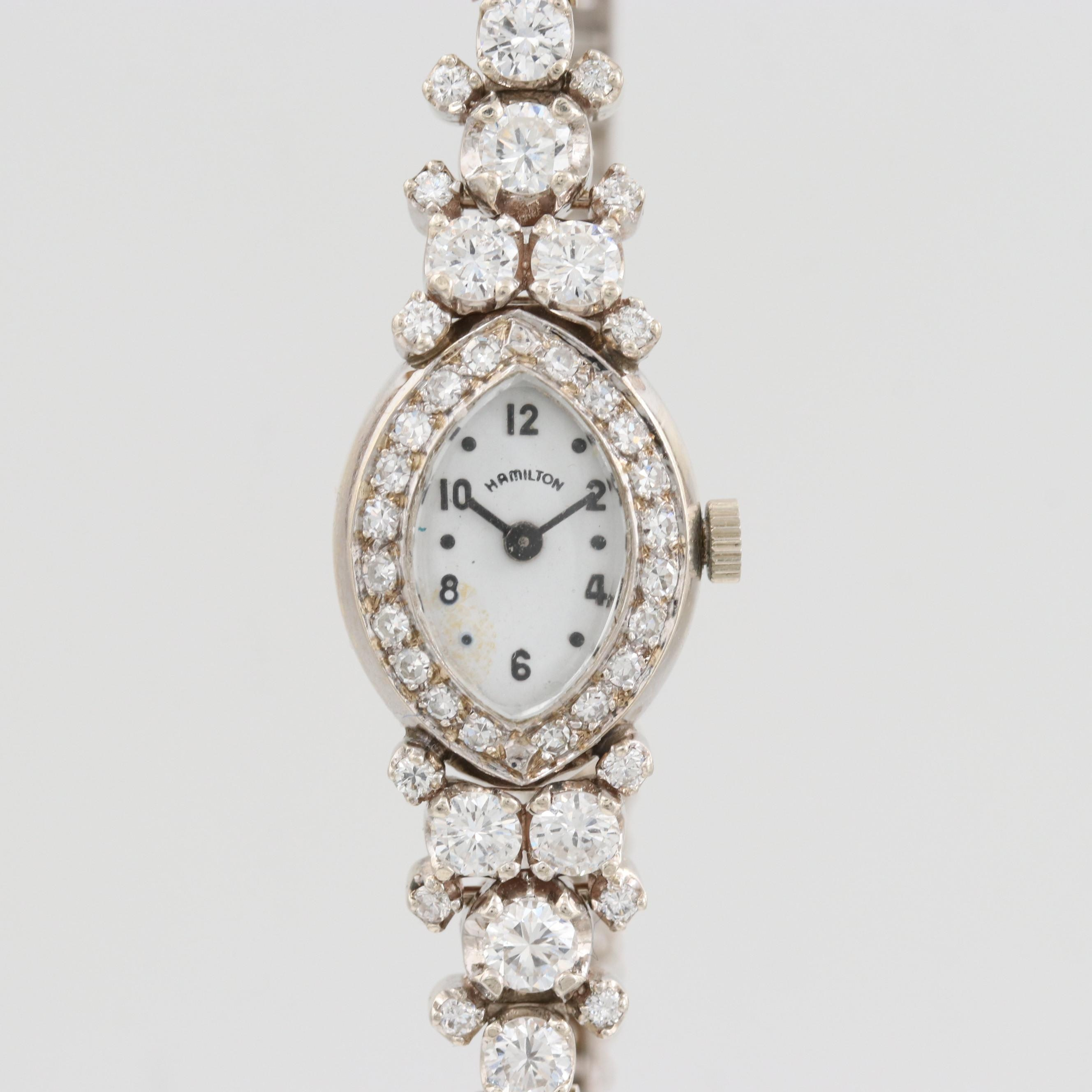 Hamilton 14K White Gold Quartz Wristwatch With 2.31 CTW Diamonds