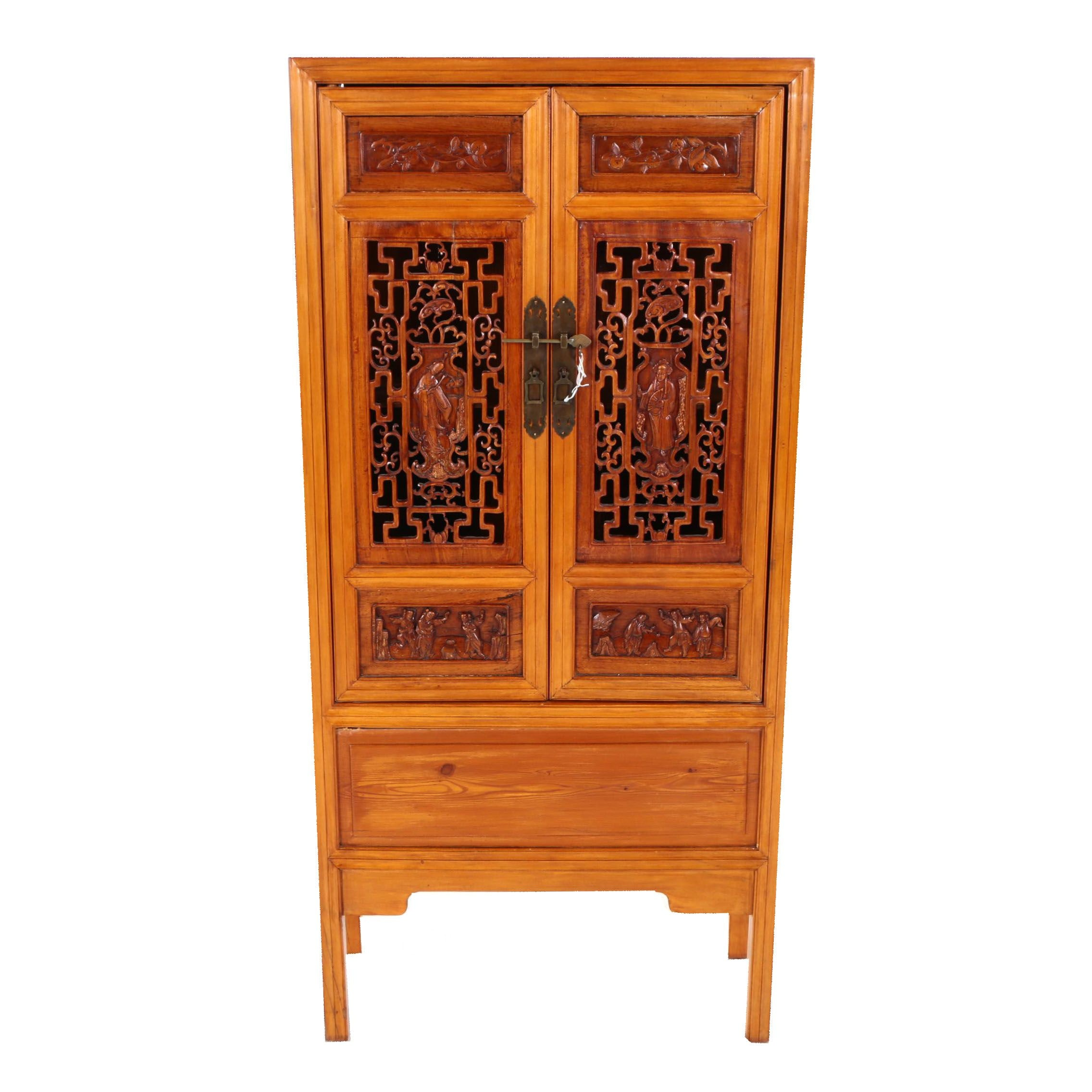 Contemporary Chinese Carved Wood Cabinet