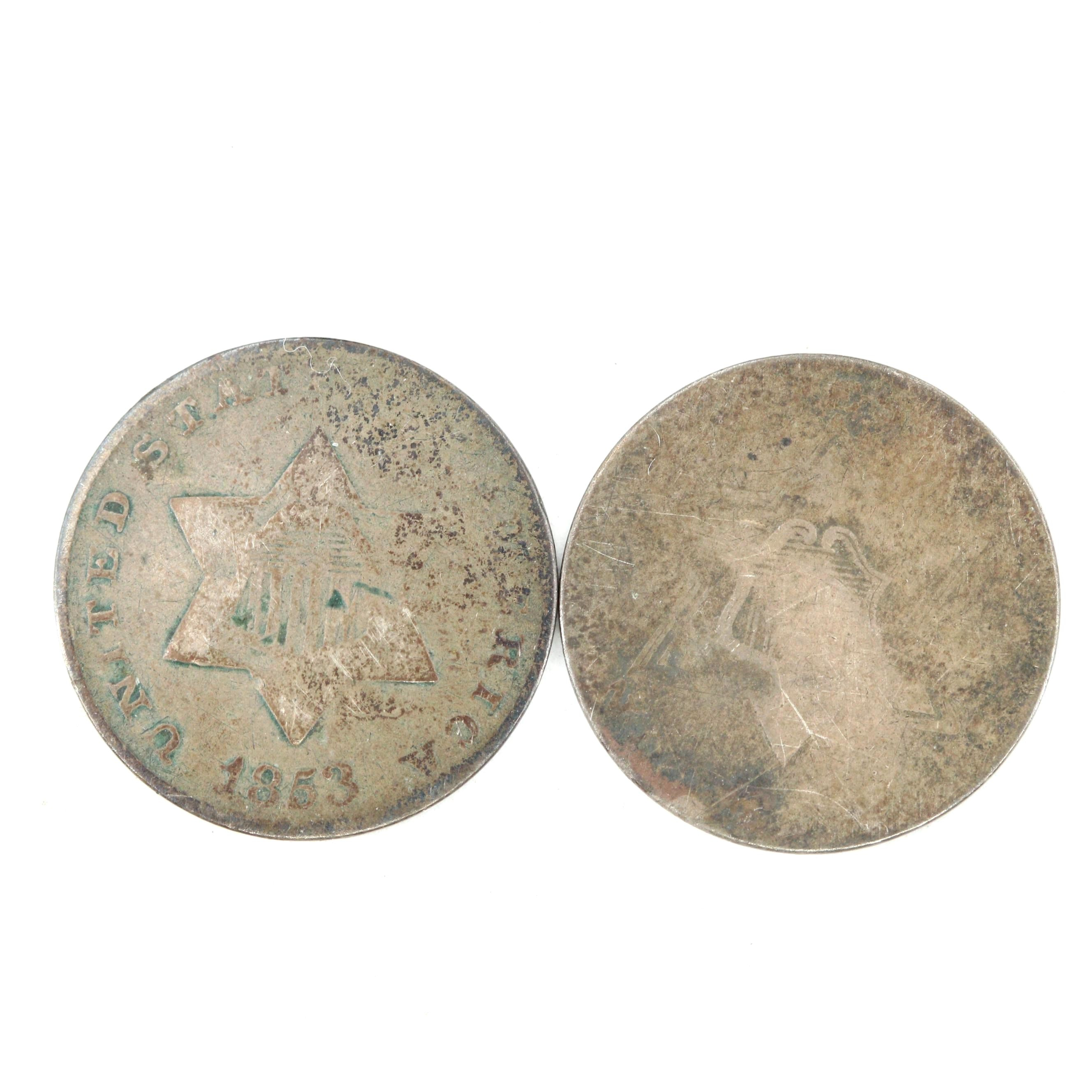 Two Silver Three Cent Coins Featuring an 1853