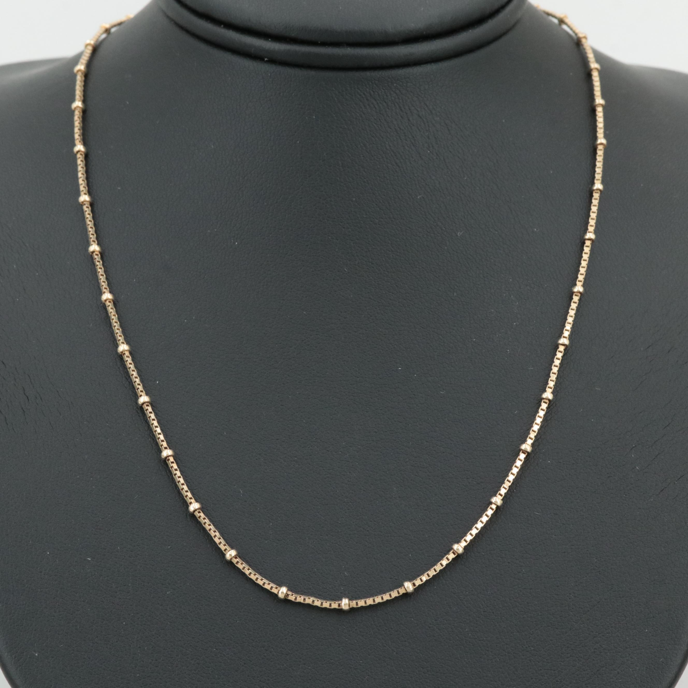 Gold Wash on Sterling Silver Box Link Station Necklace