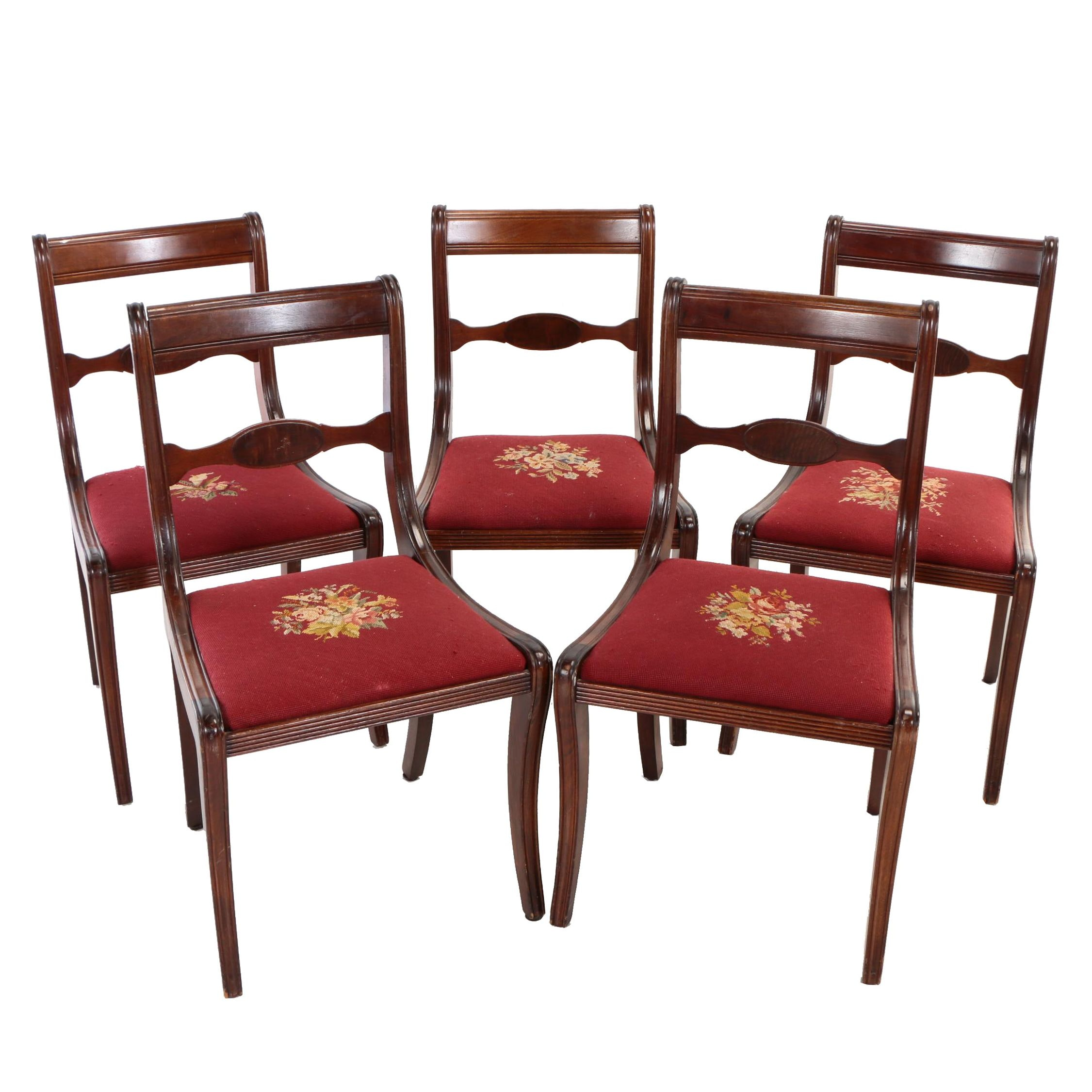 Five Grand Ledge Chair Co., Mahogany and Figured Walnut Dining Side Chairs