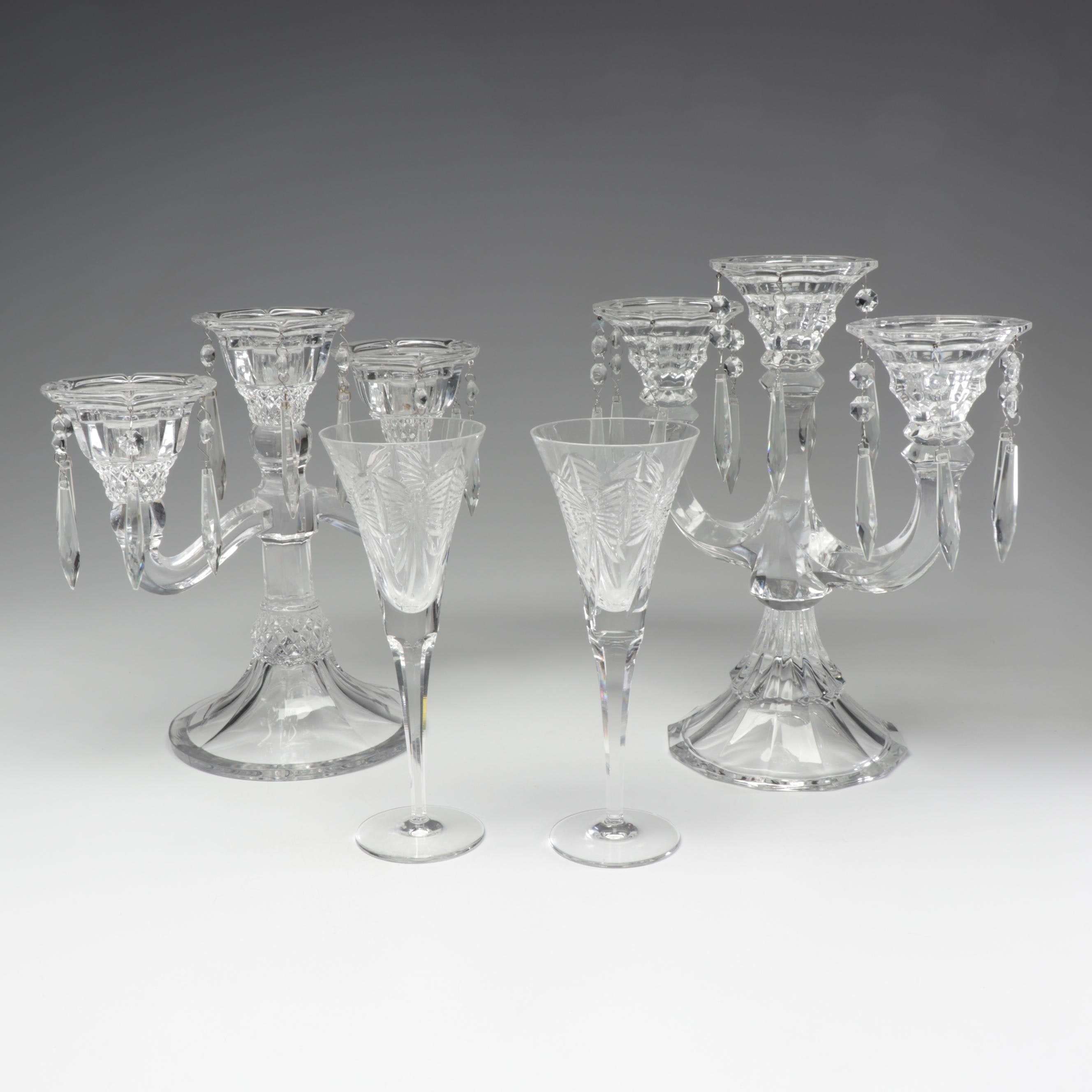 """Waterford Crystal Millennium """"Happiness"""" Champagne Flutes & Crystal Candelabras"""