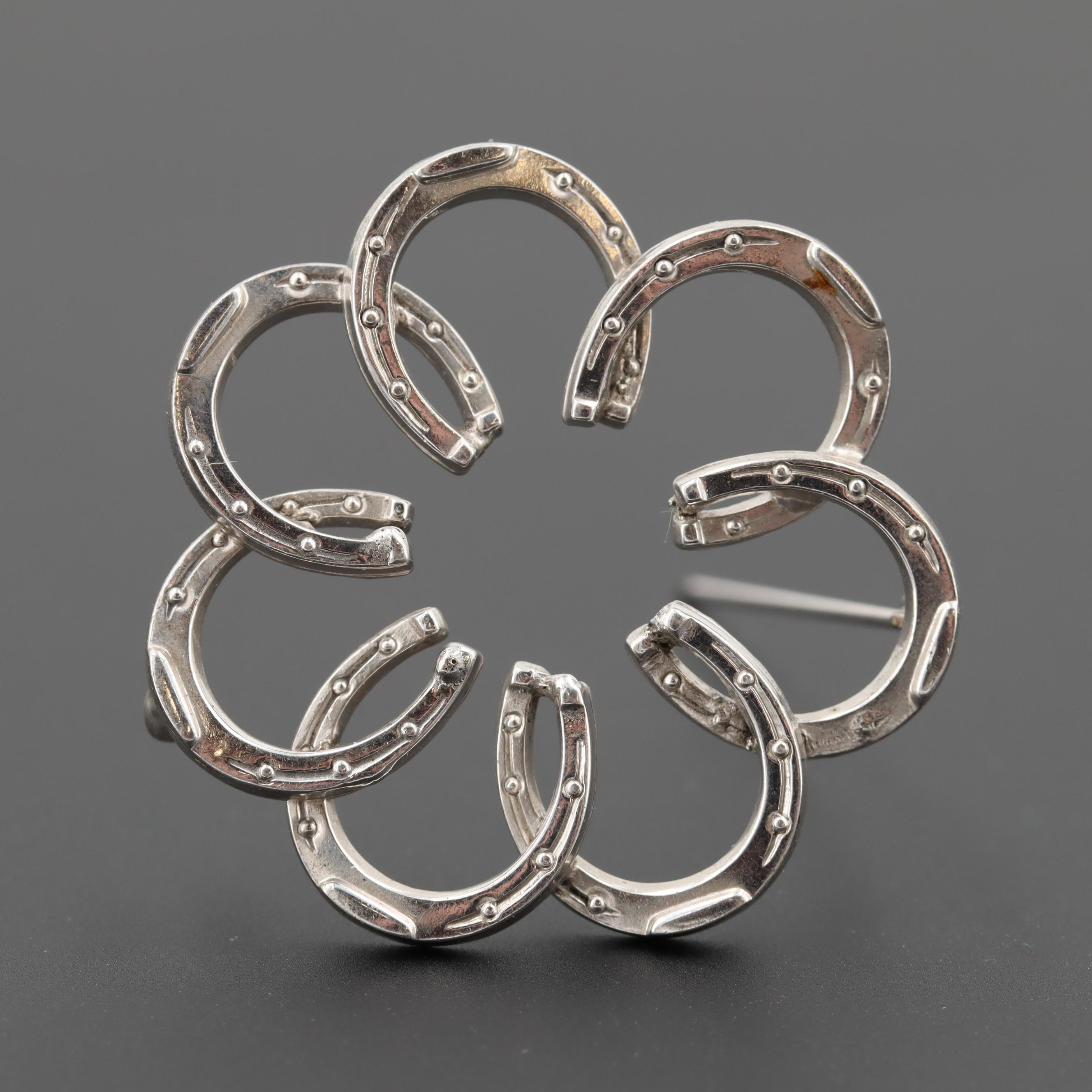 Sterling Silver Horseshoe Circle Brooch