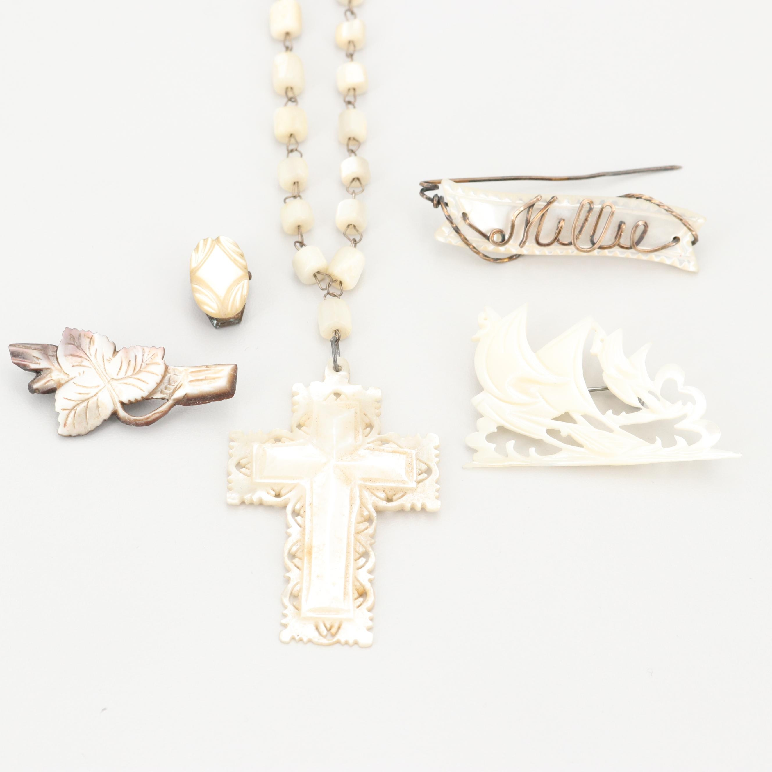 Vintage Mother of Pearl Brooches, Pins, and Rosary