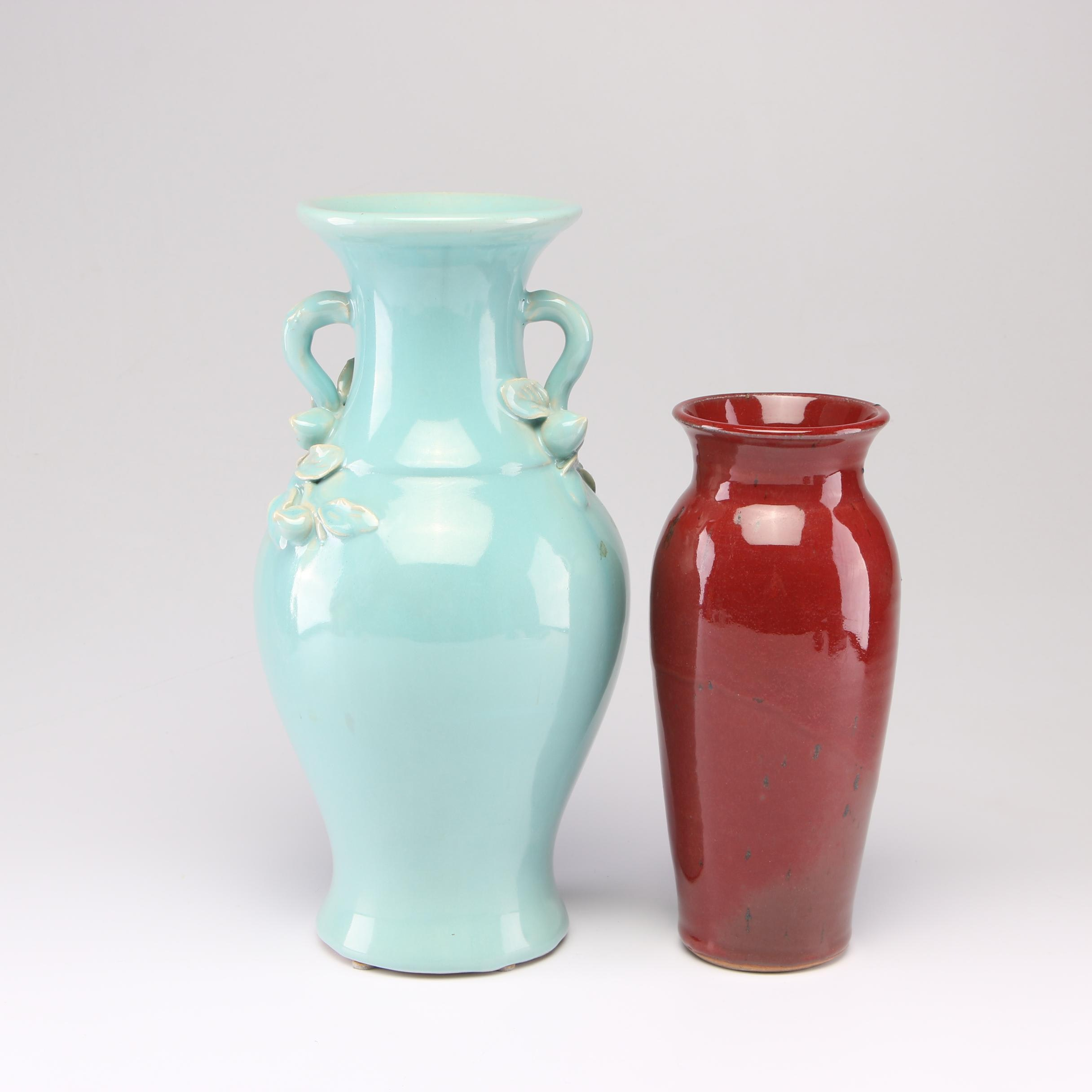 Thrown Stoneware and Porcelain Vases Including Emmett Collier